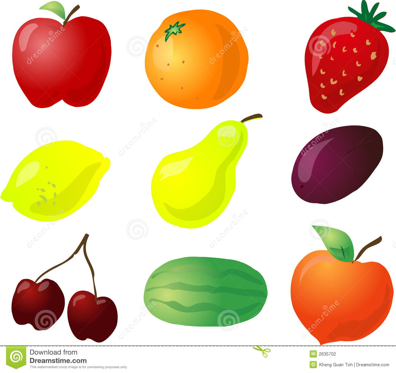 Illustration of fruits, hand-drawn look with no lines: apple, orange ...
