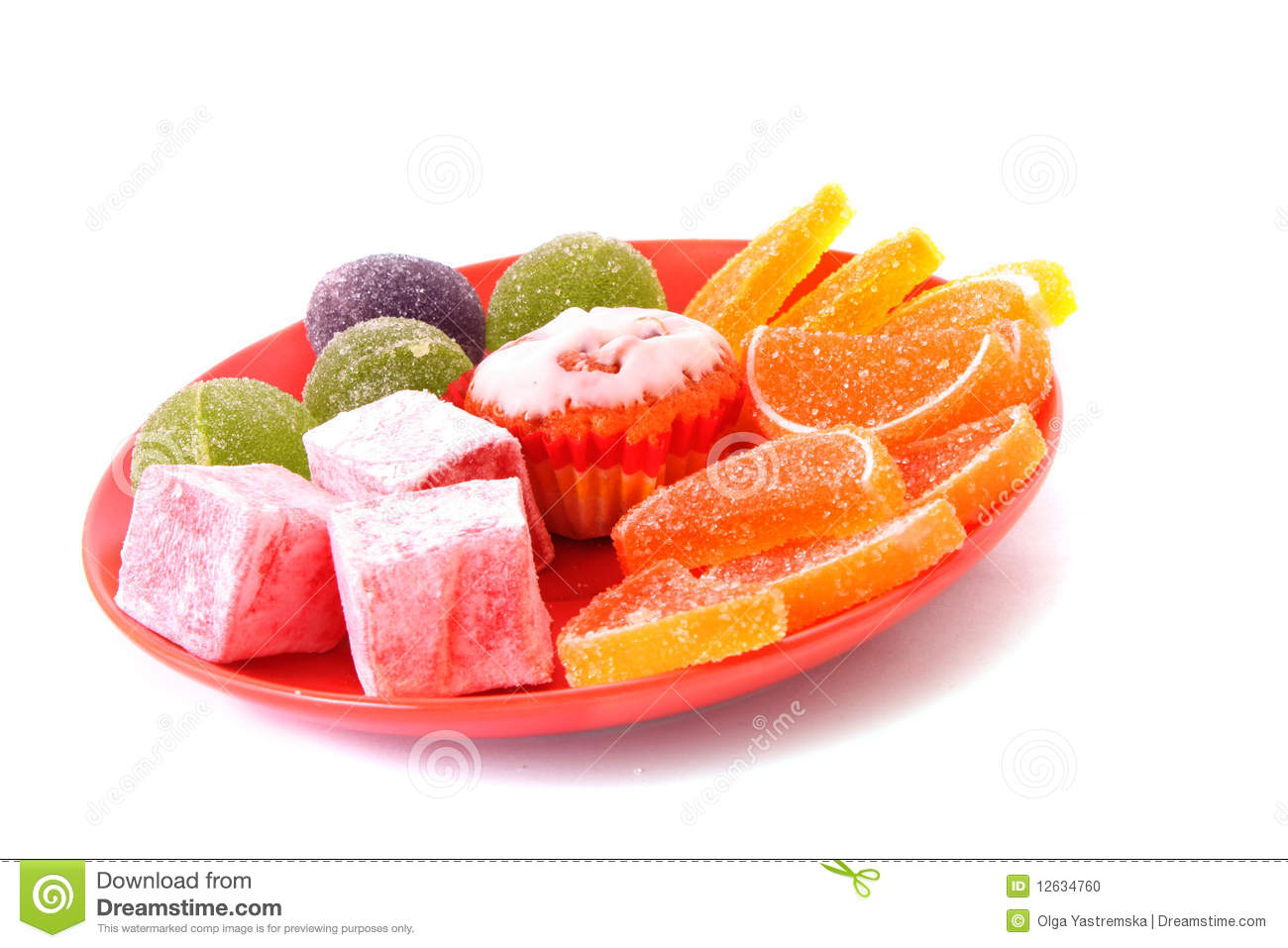 Fruit jelly cakes on plate isolated on the white.