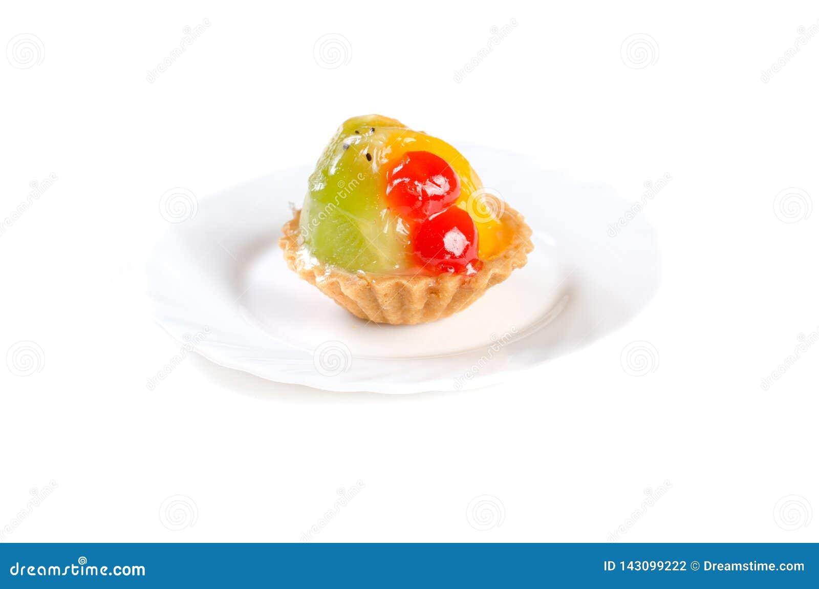 Fruit jelly cake isolated on white background