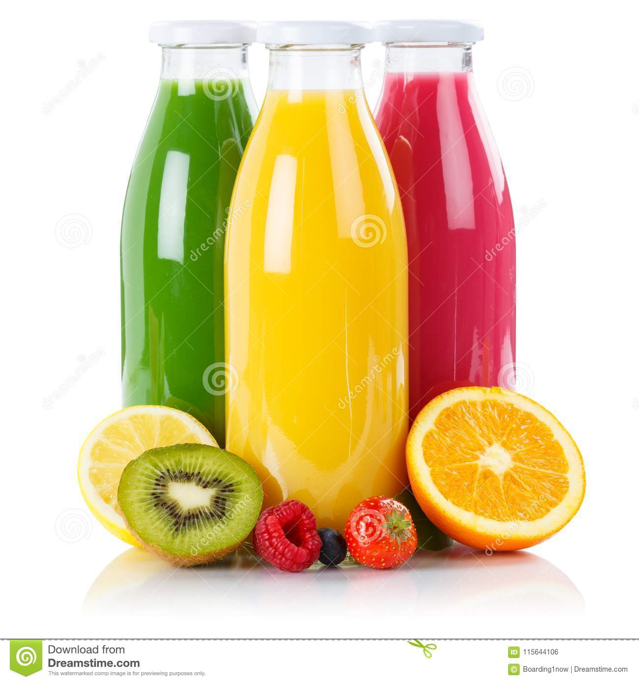 Fruit juice smoothie fruits smoothies in bottle square isolated