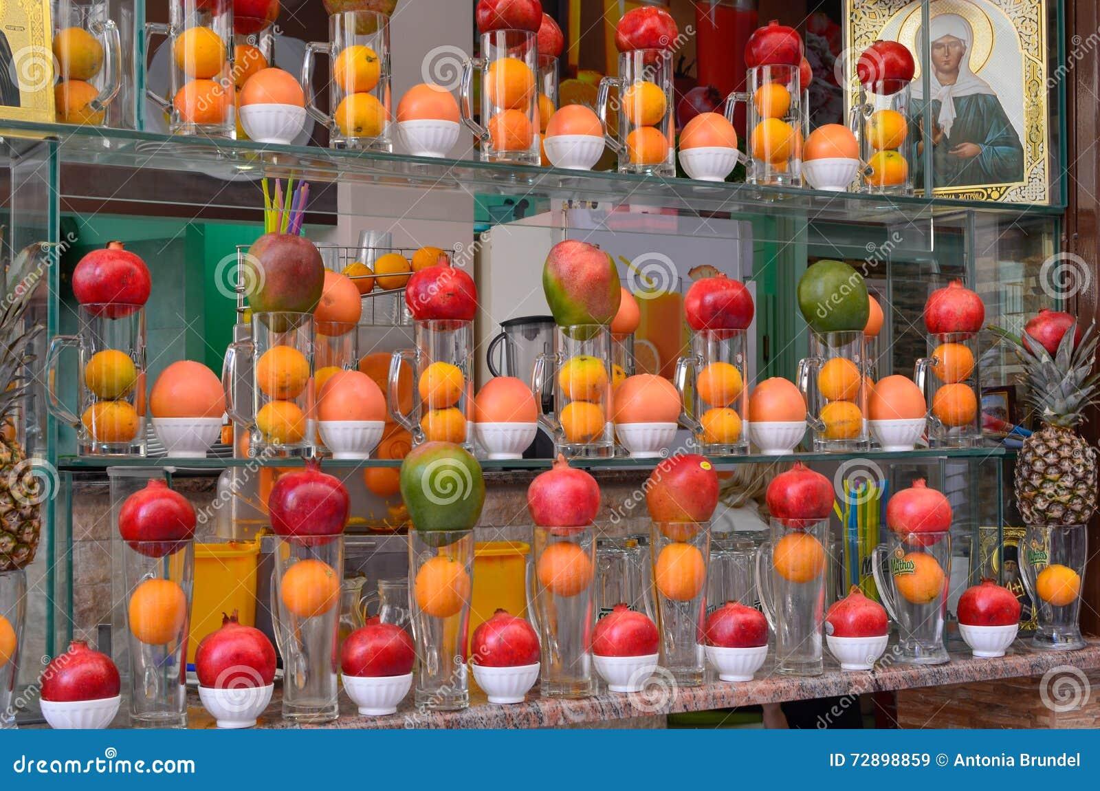 Fruit And Juicebar Window Display Stock Image Image Of