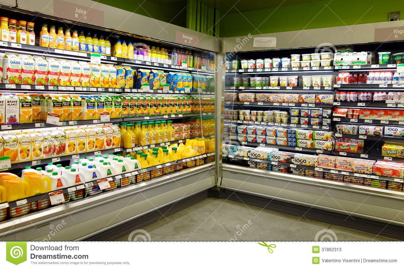 Fruit Juices And Dairy Products Editorial Stock Photo