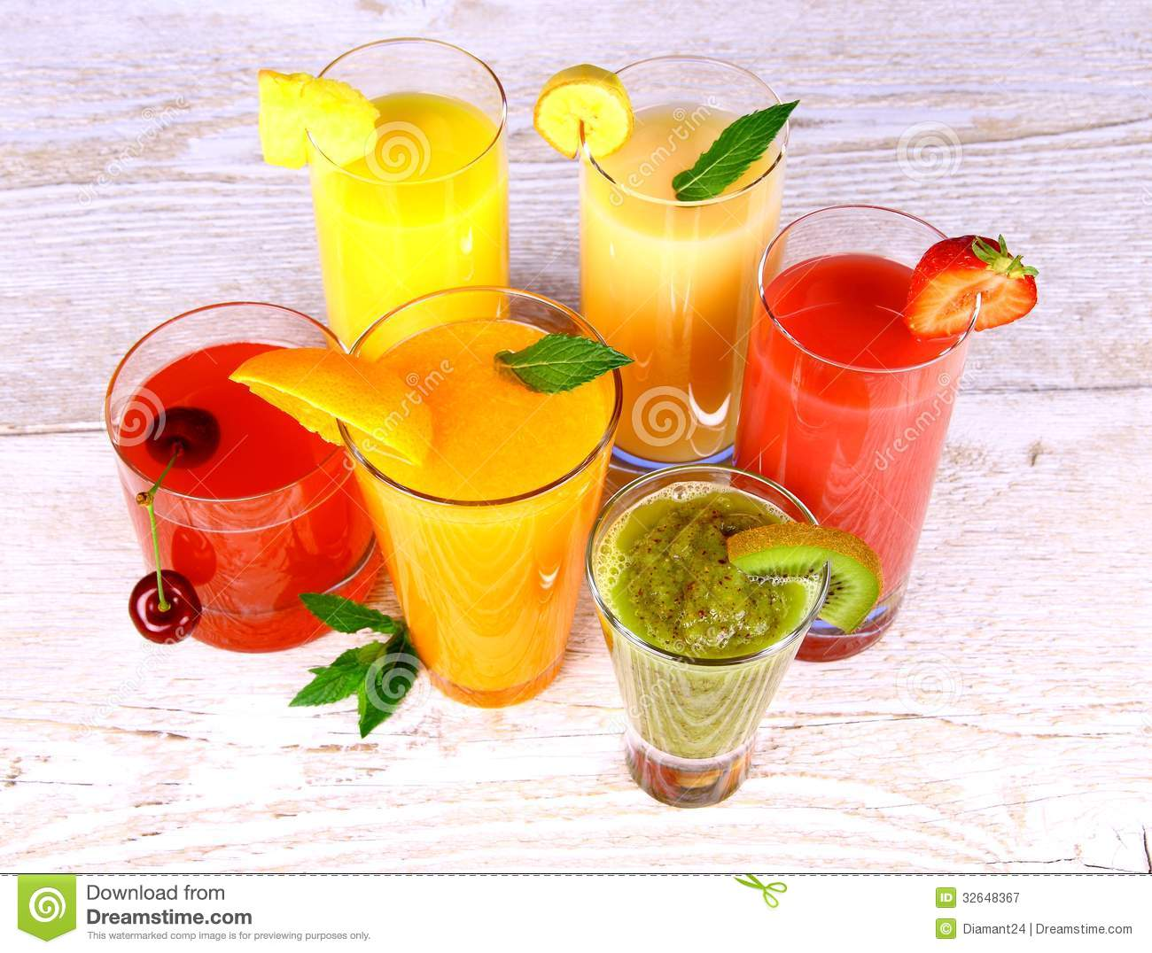 Fruit juices, kiwi, cherry, orange, strawberry, banana, pineapple
