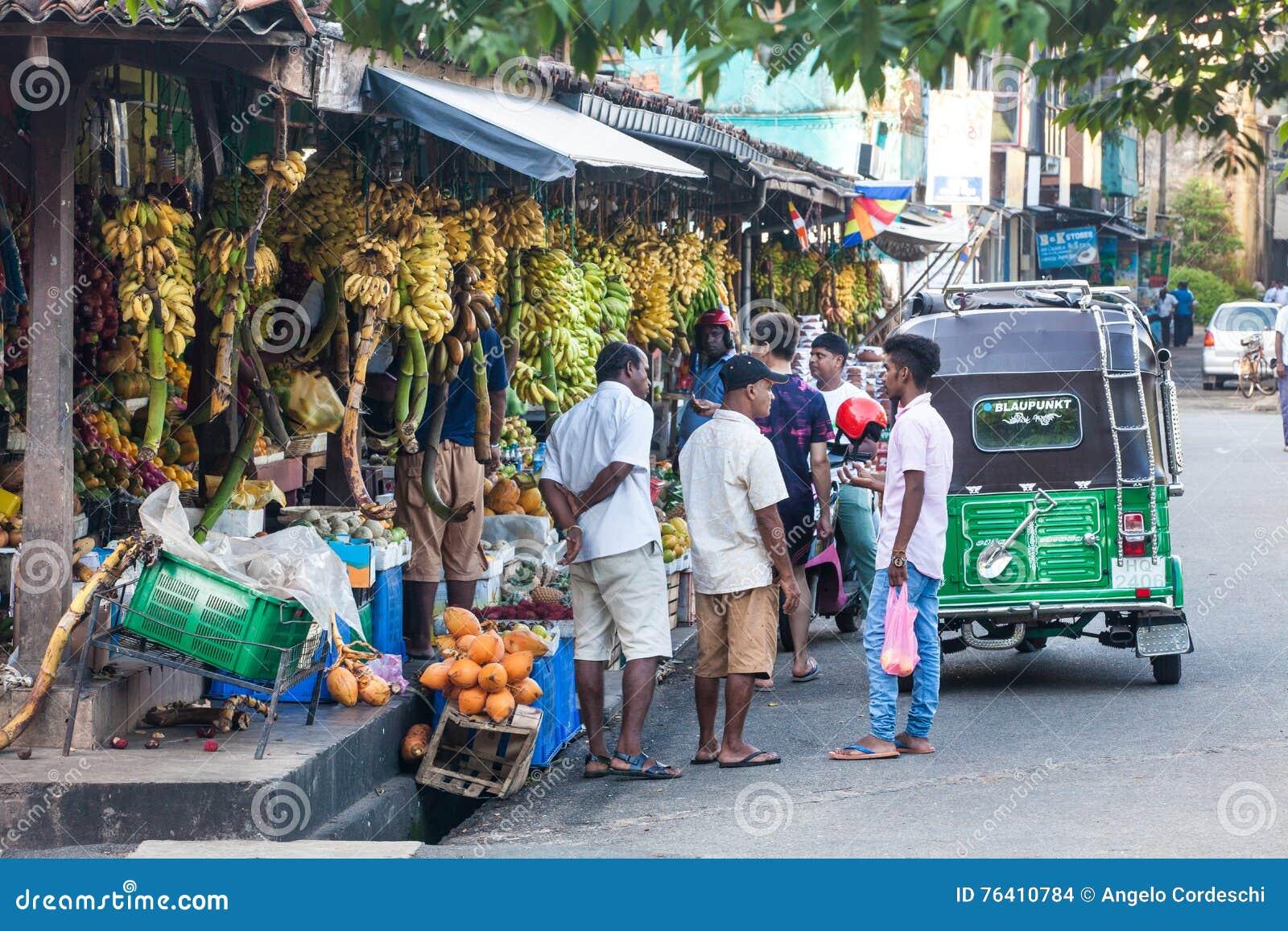 Fruit market. Fresh fruit stands. Galle, Sri Lanka