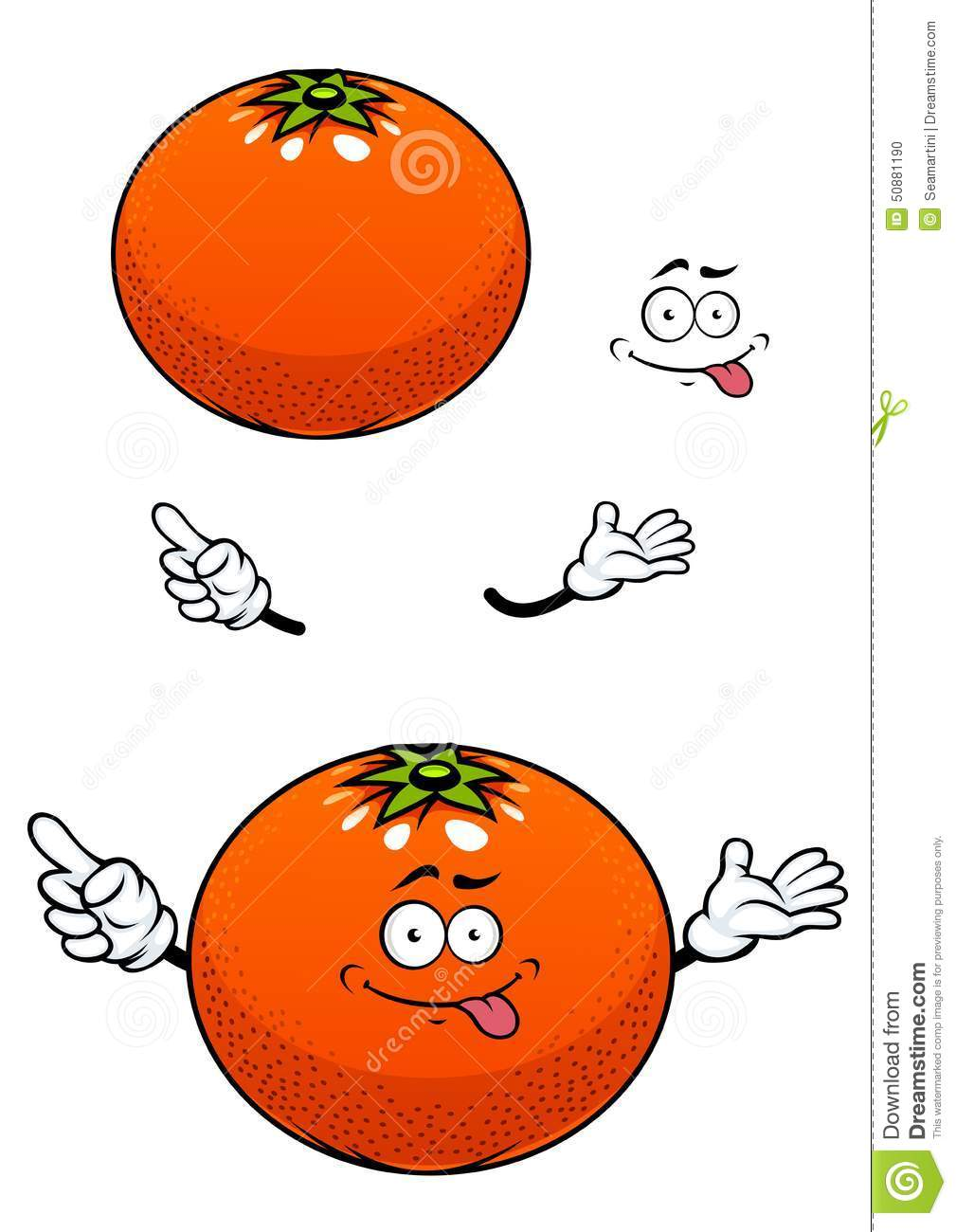 Fruit orange avec le personnage de dessin anim brillant - Orange dessin ...
