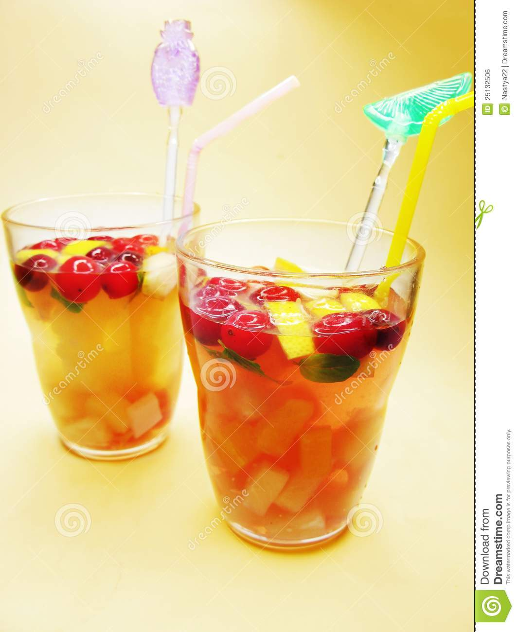 Fruit Punch Cocktail Drinks With Cherry Stock Photo Image Of
