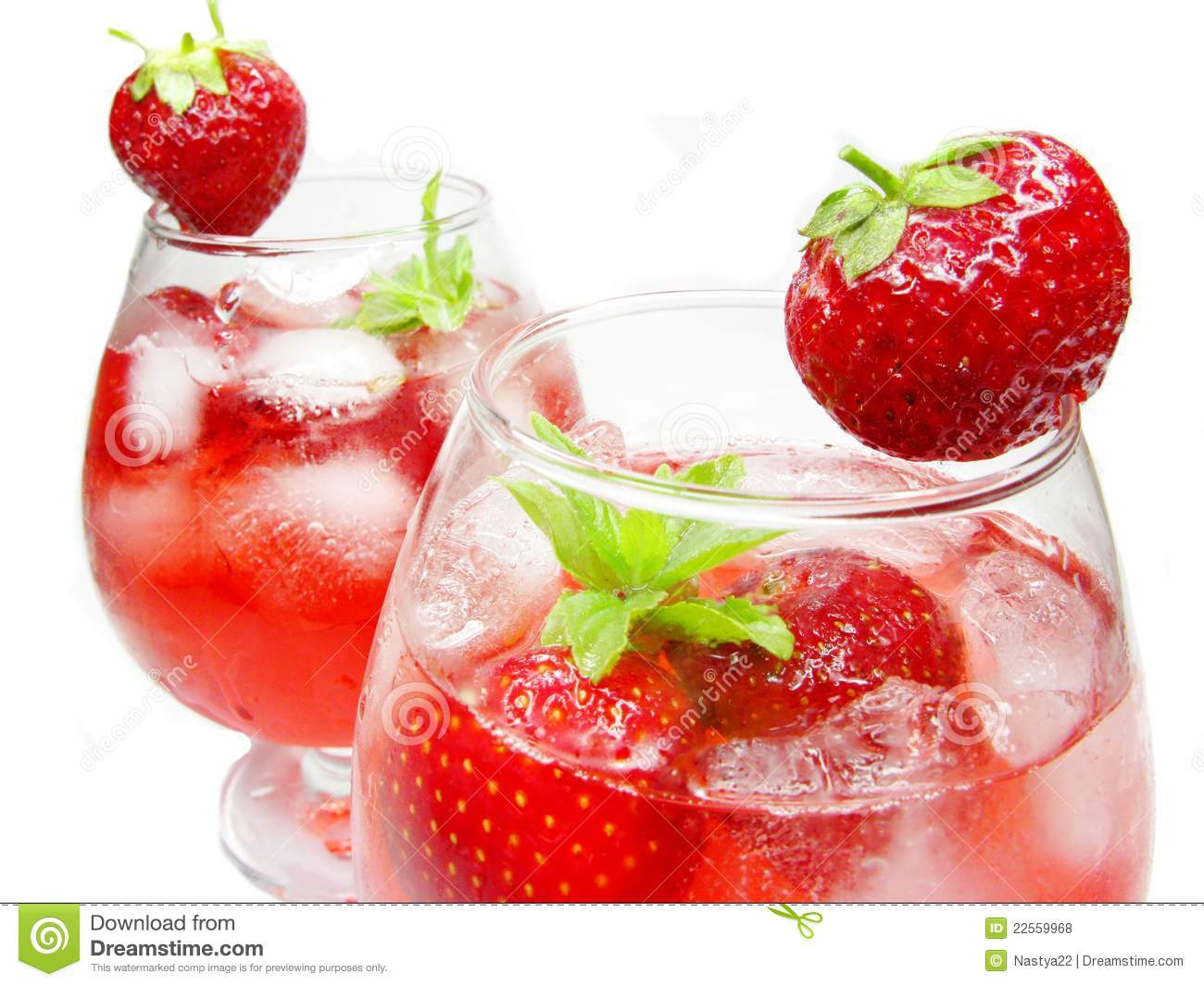 Fruit Punch Cocktails With Strawberry Royalty Free Stock