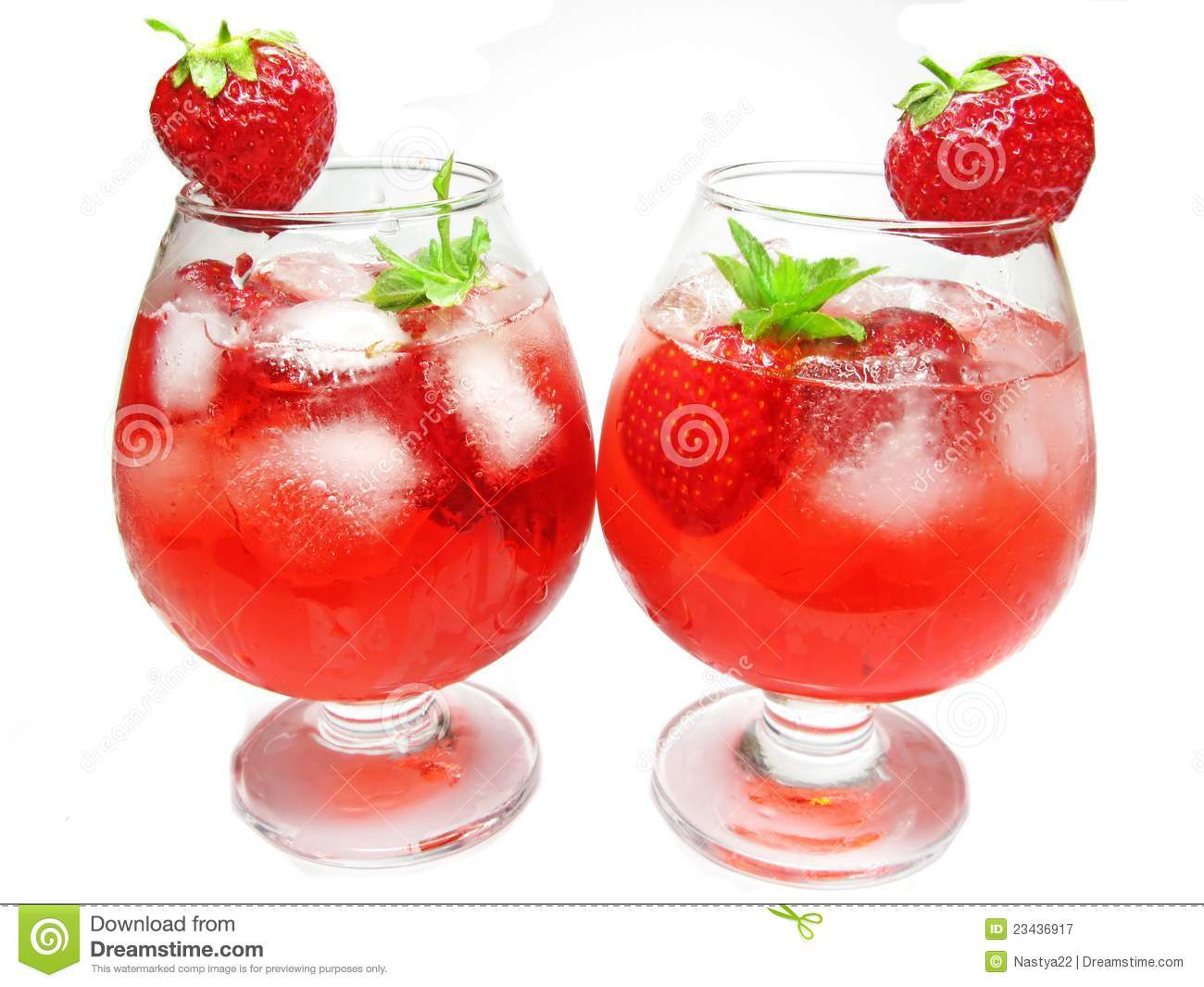Fruit Red Punch Cocktail Drinks With Strawberry Royalty