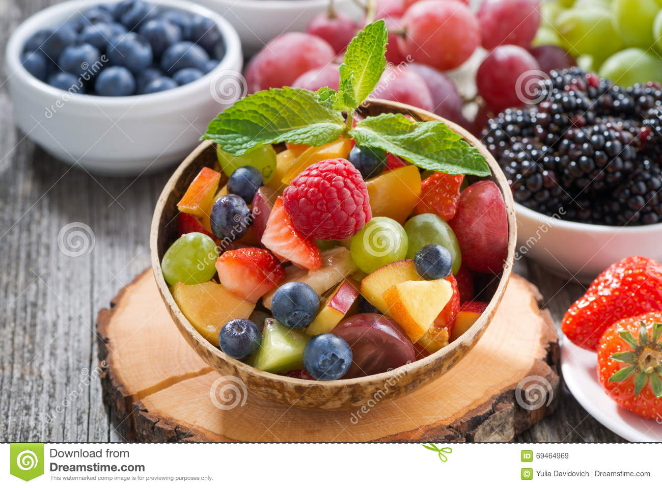 Download Fruit Salad In A Bamboo Bowl And Fresh Berries, Close-up Stock Image - Image of mint, grapes: 69464969