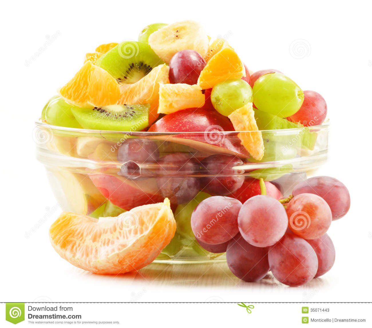 Fruit Salad Bowl On White Stock Photos - Image: 35071443