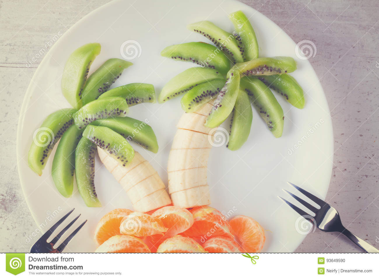 Fruit Salad In Form Of Tropical Plams Stock Photo - Image of