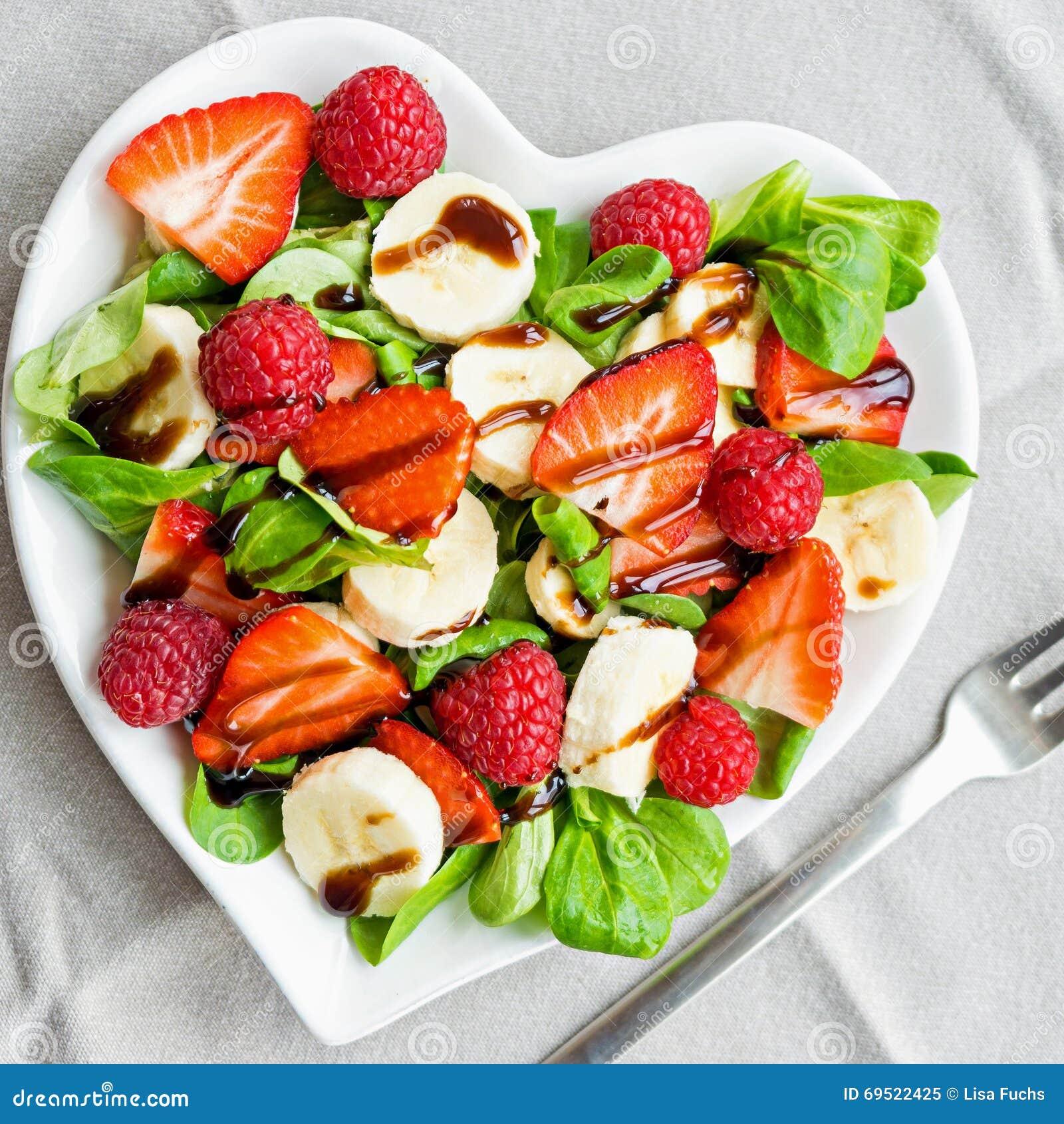 Fruit salad with salad greens