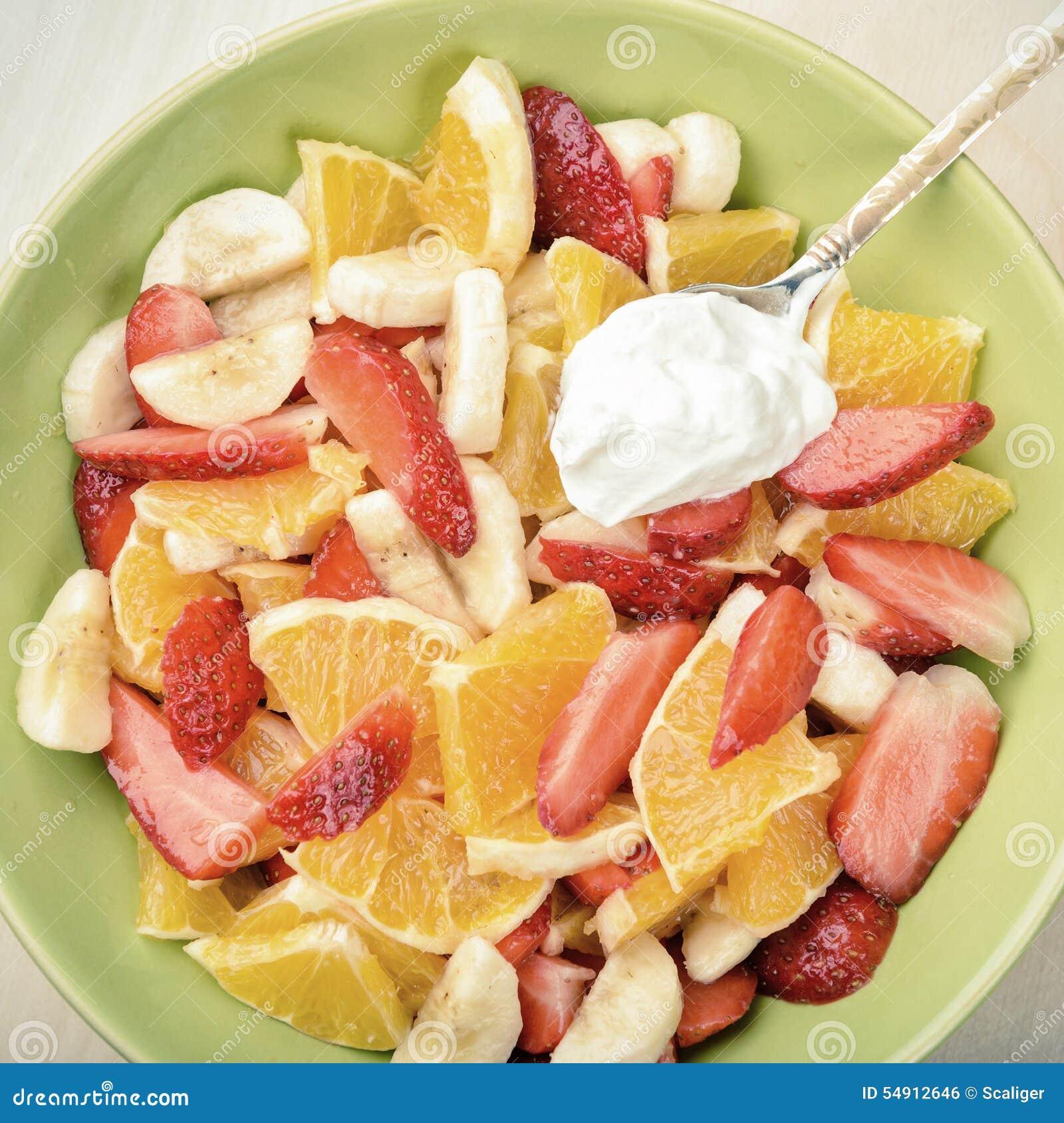 Download Fruit Salad With Sour Cream Stock Photo - Image of retro, organic: 54912646