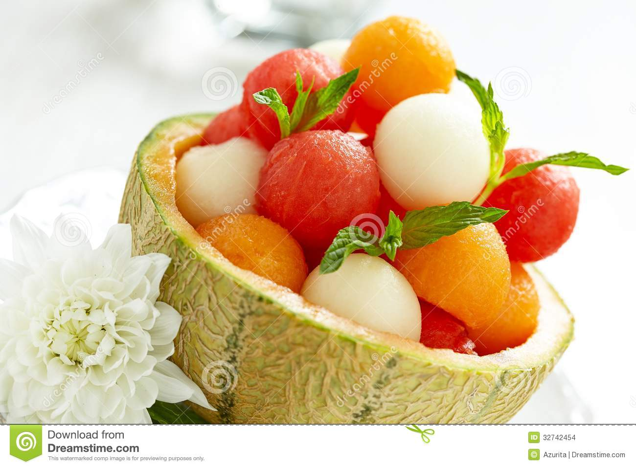 fruit salad with watermelon and melon balls stock photo - image of