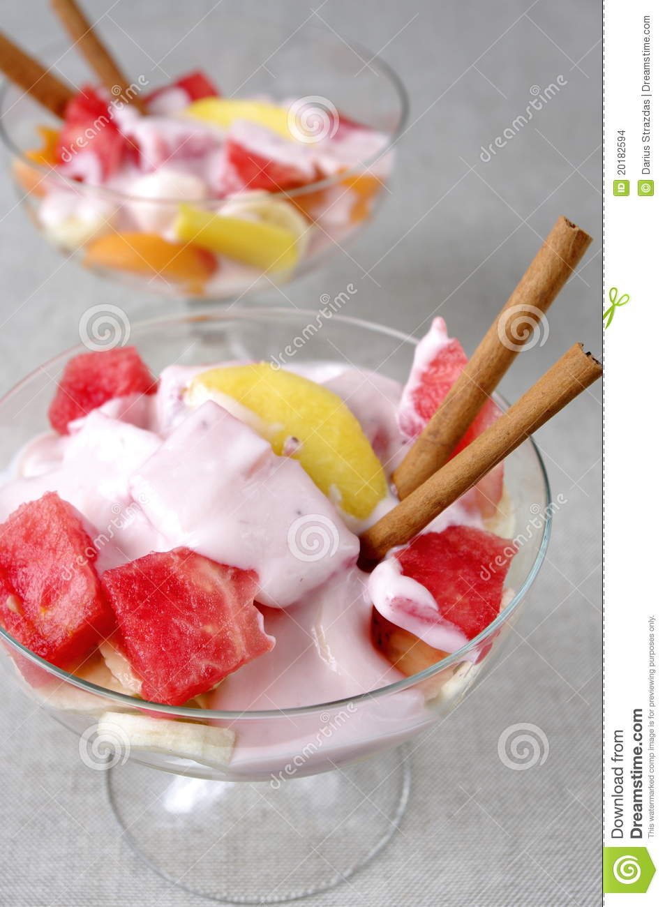 Fruit Salad Of Yogurt Watermelon Bananas Peach Stock Images - Image ...