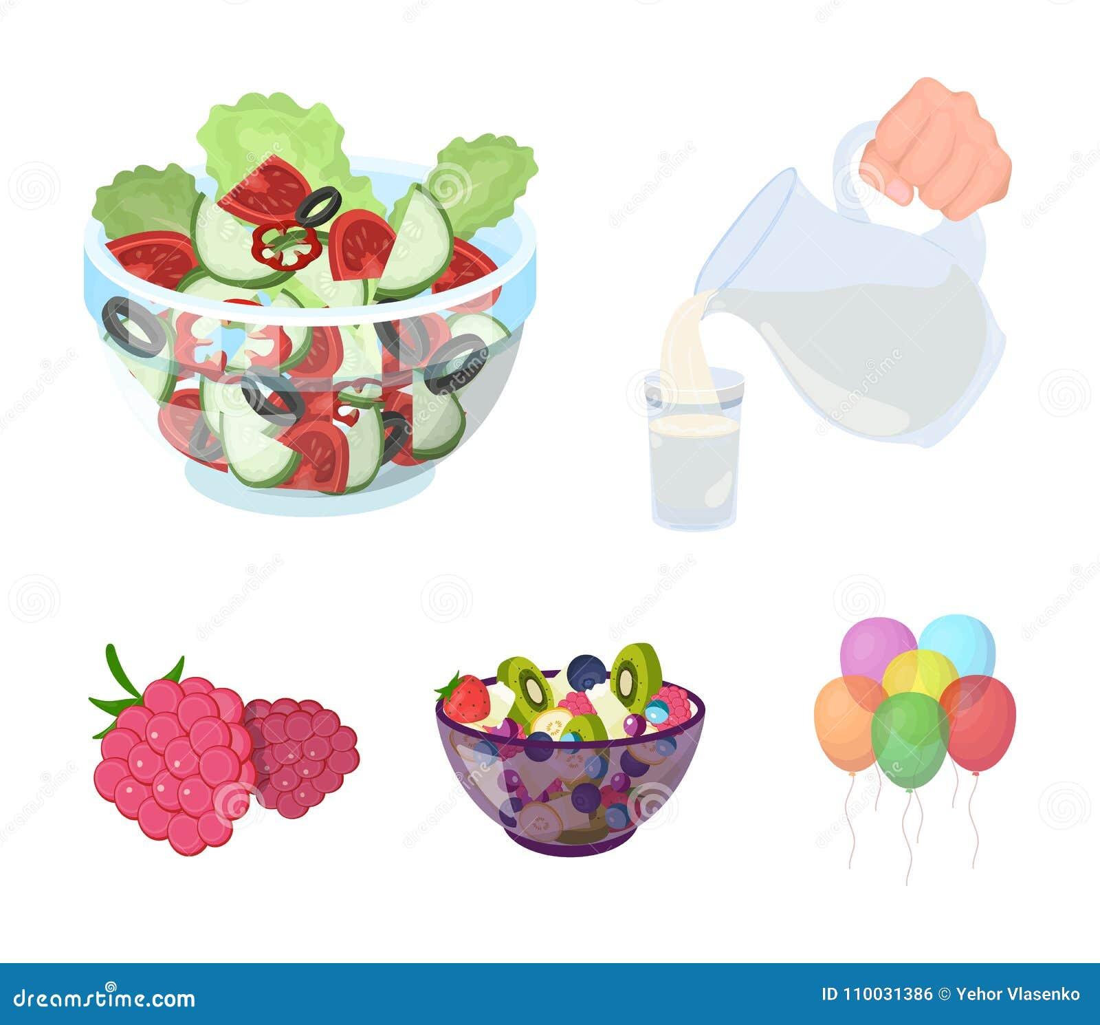 Fruit, salade végétale et d autres types de nourriture Les icônes réglées de collection de nourriture dans le style de bande dess