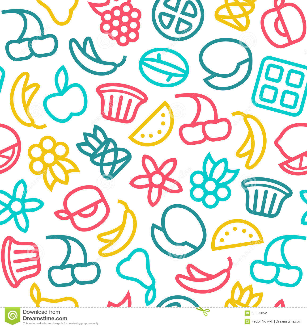 Fruit Seamless Pattern In Thin Line Style Stock Vector