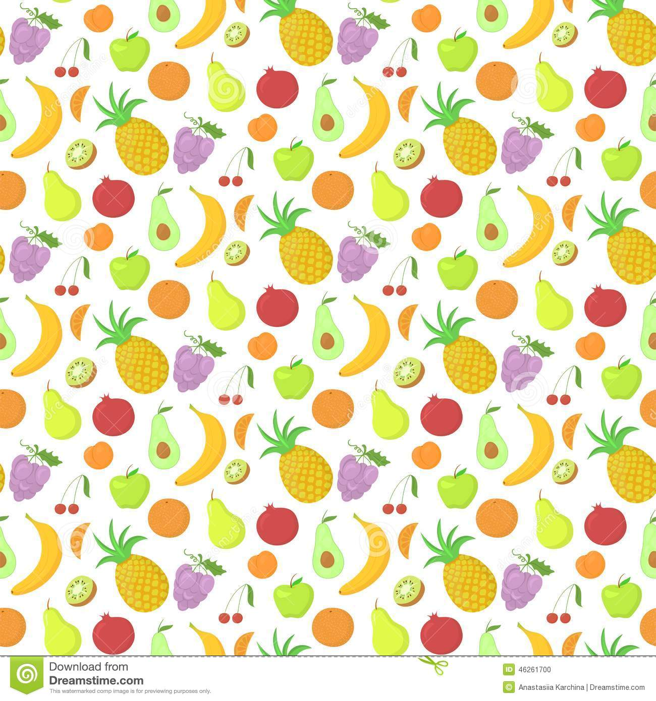 Fruit Seamless Pattern, Vector Background With Stock Vector - Image ...