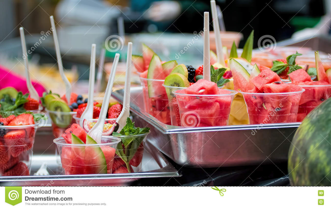 Fruit Serving Snacks Fresh Fruit In Cups Ready To Eat Dragon Fruit Planting