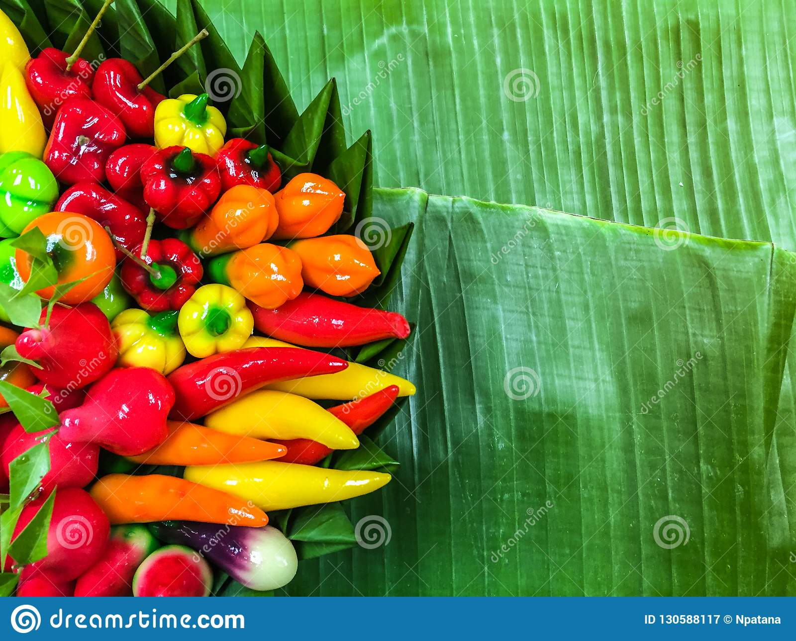 Fruit Shaped Mung Beans in Jelly on banana leaves ,Thai style