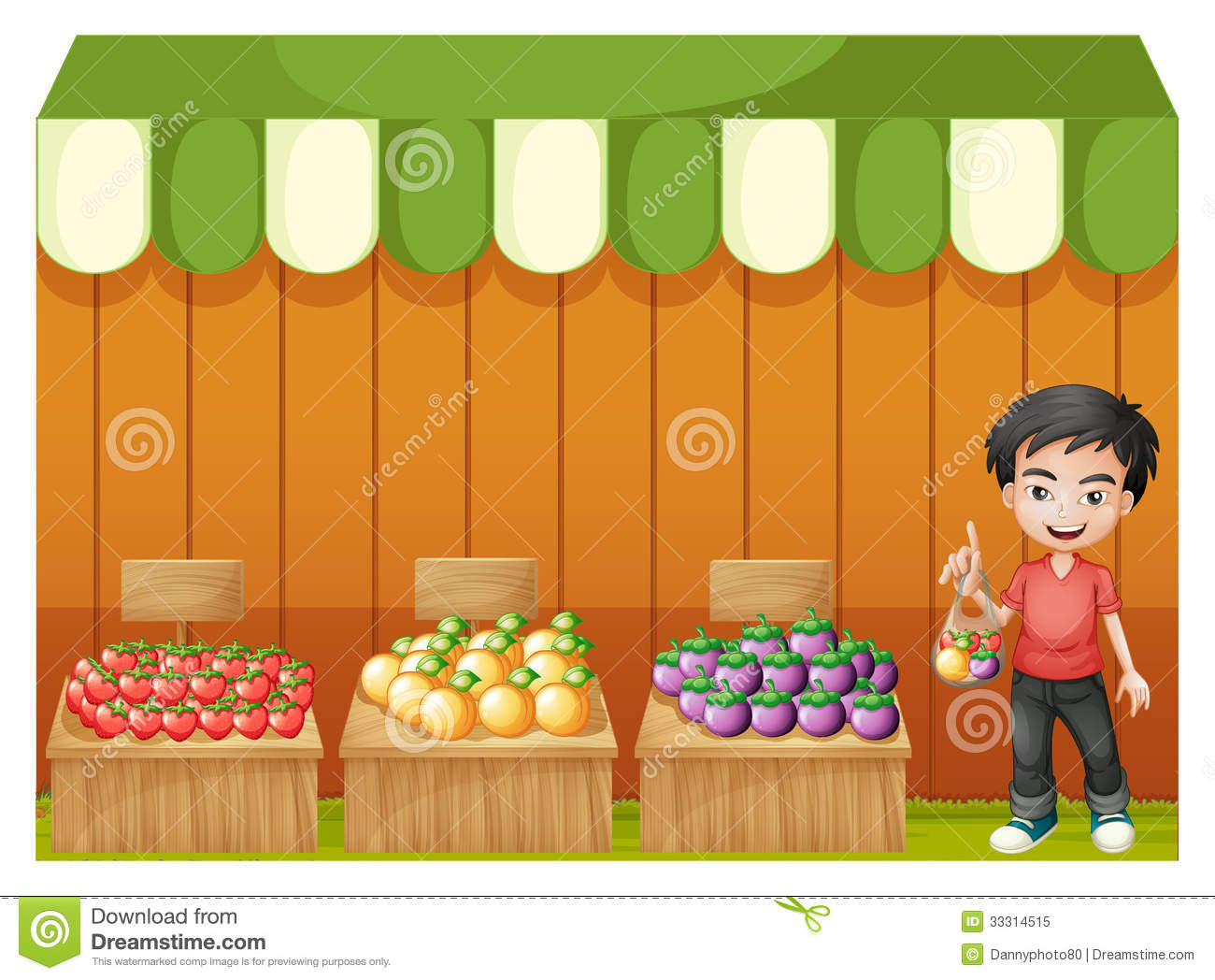a young boy selling fruits cartoon vector cartoondealer grocery store clipart free grocery store clipart free