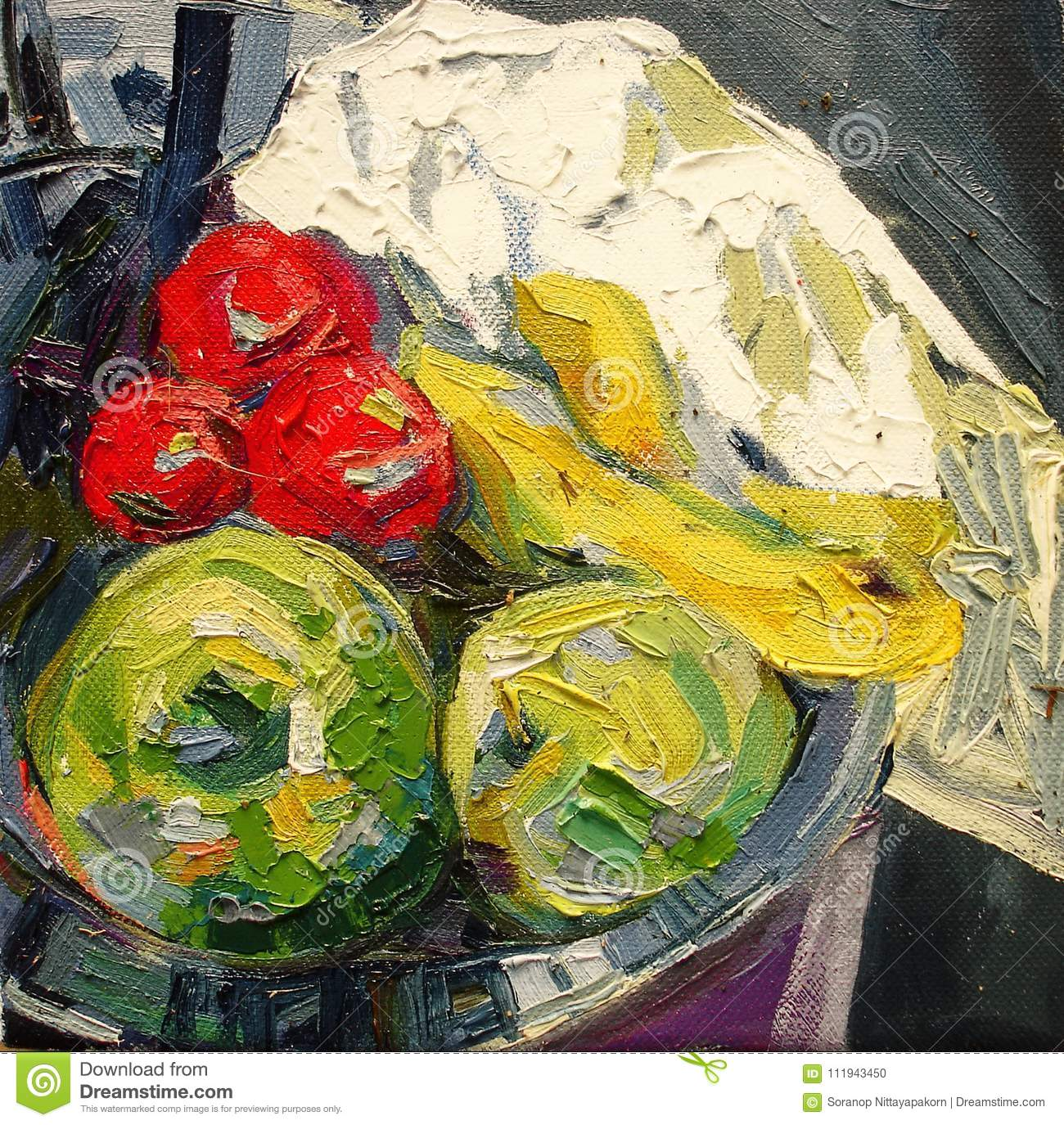 Fruit In Silver Bowl Expressionism Acrylic Oil Painting Stock