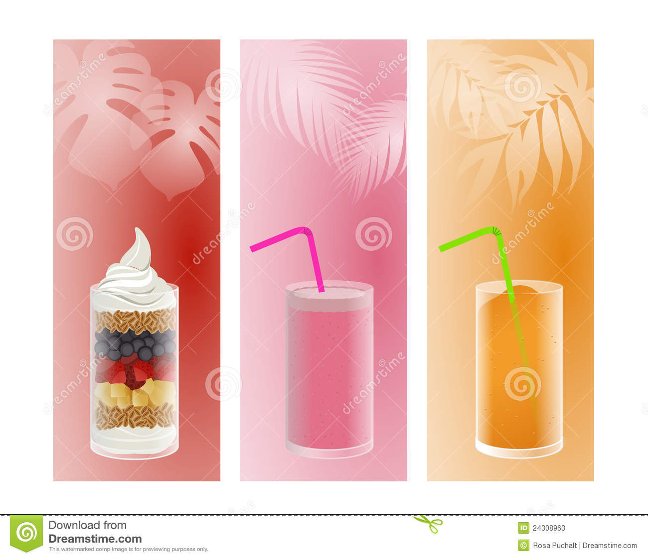 Fruit, smoothie and ice