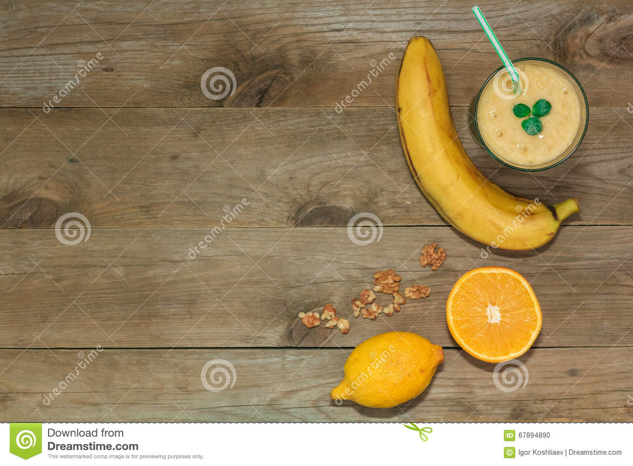 Fruit smoothies, banana and orange top view