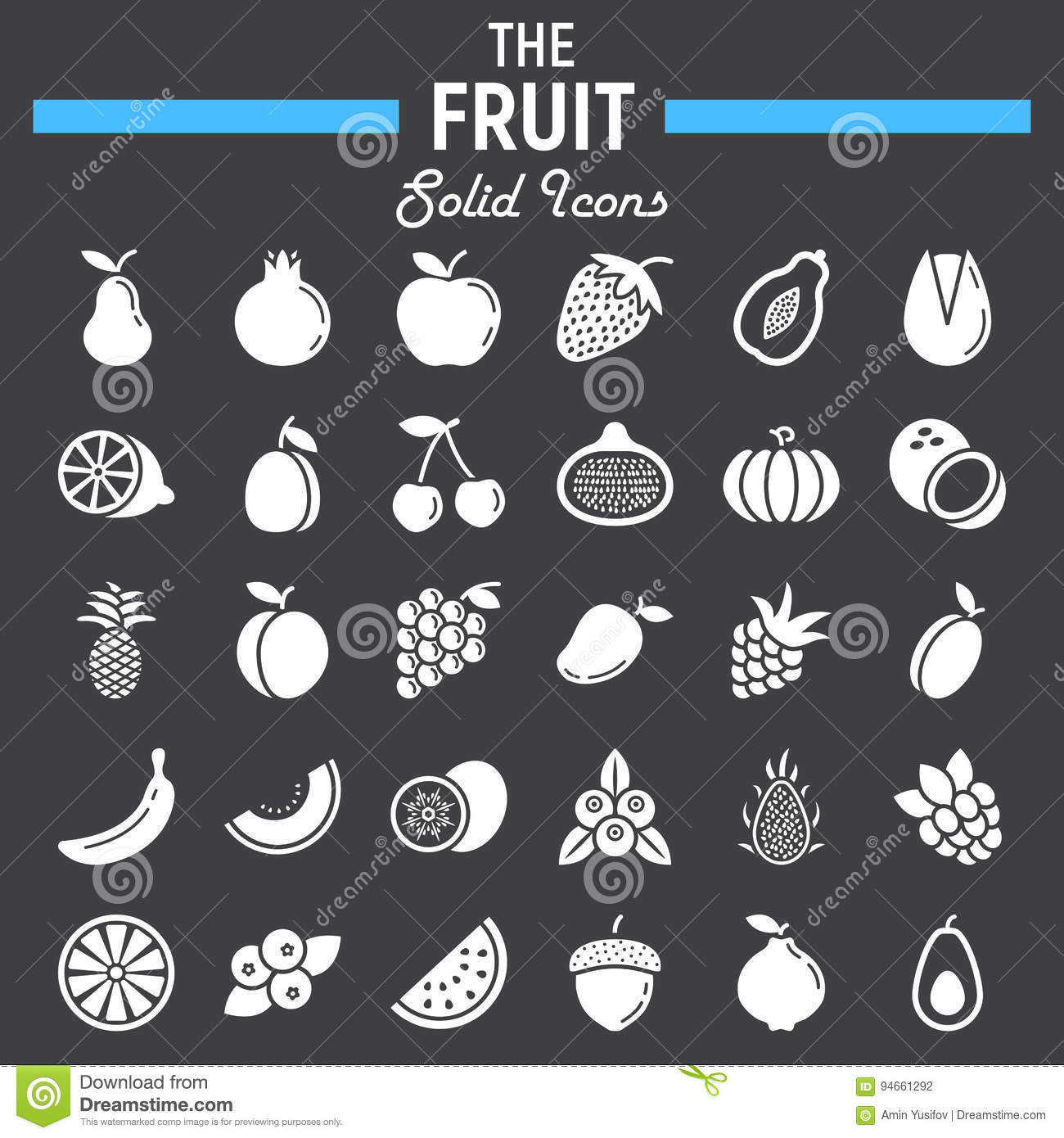 Fruit solid icon set, food symbols collection