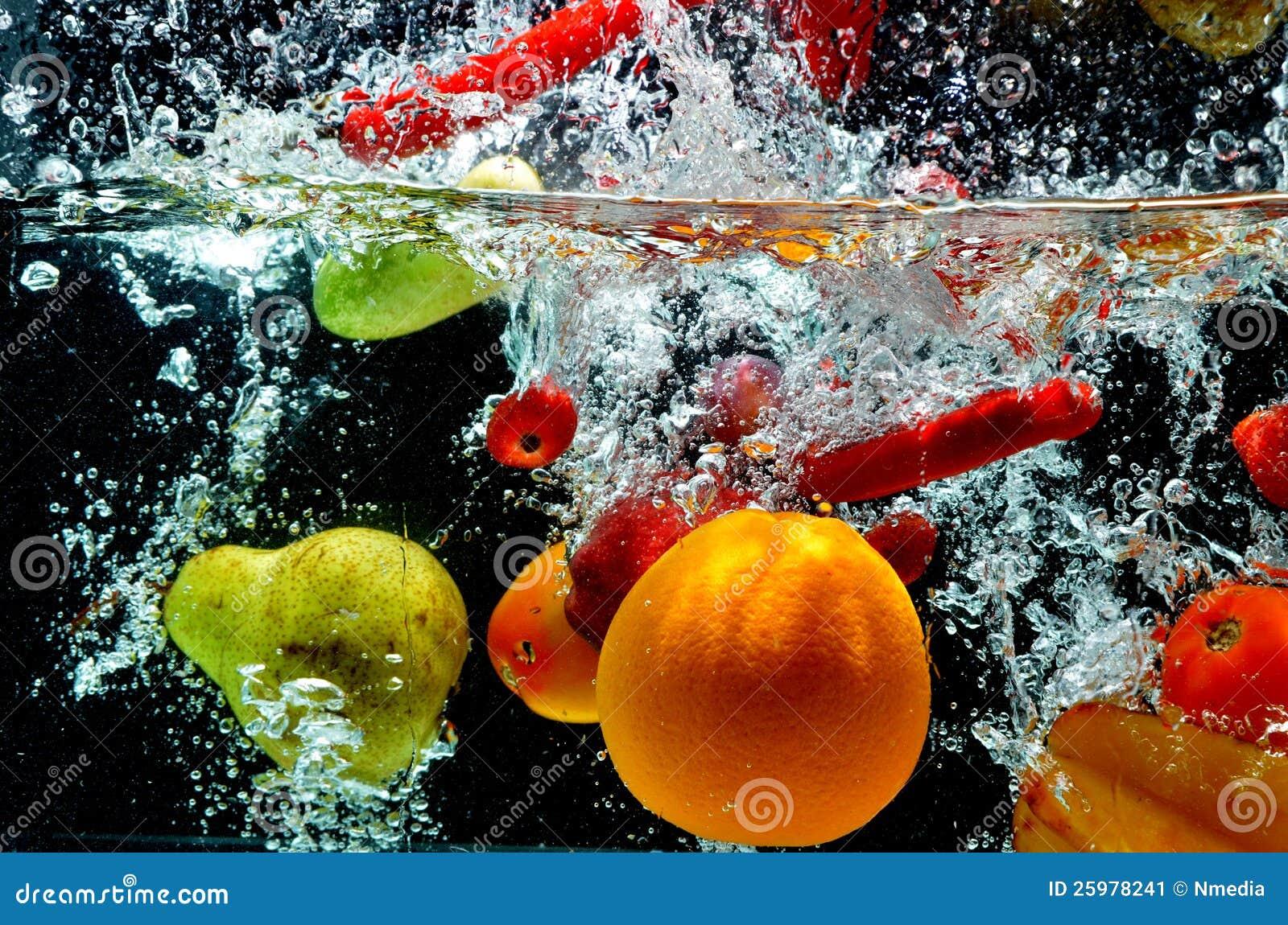 Fruit Splash On Water ...