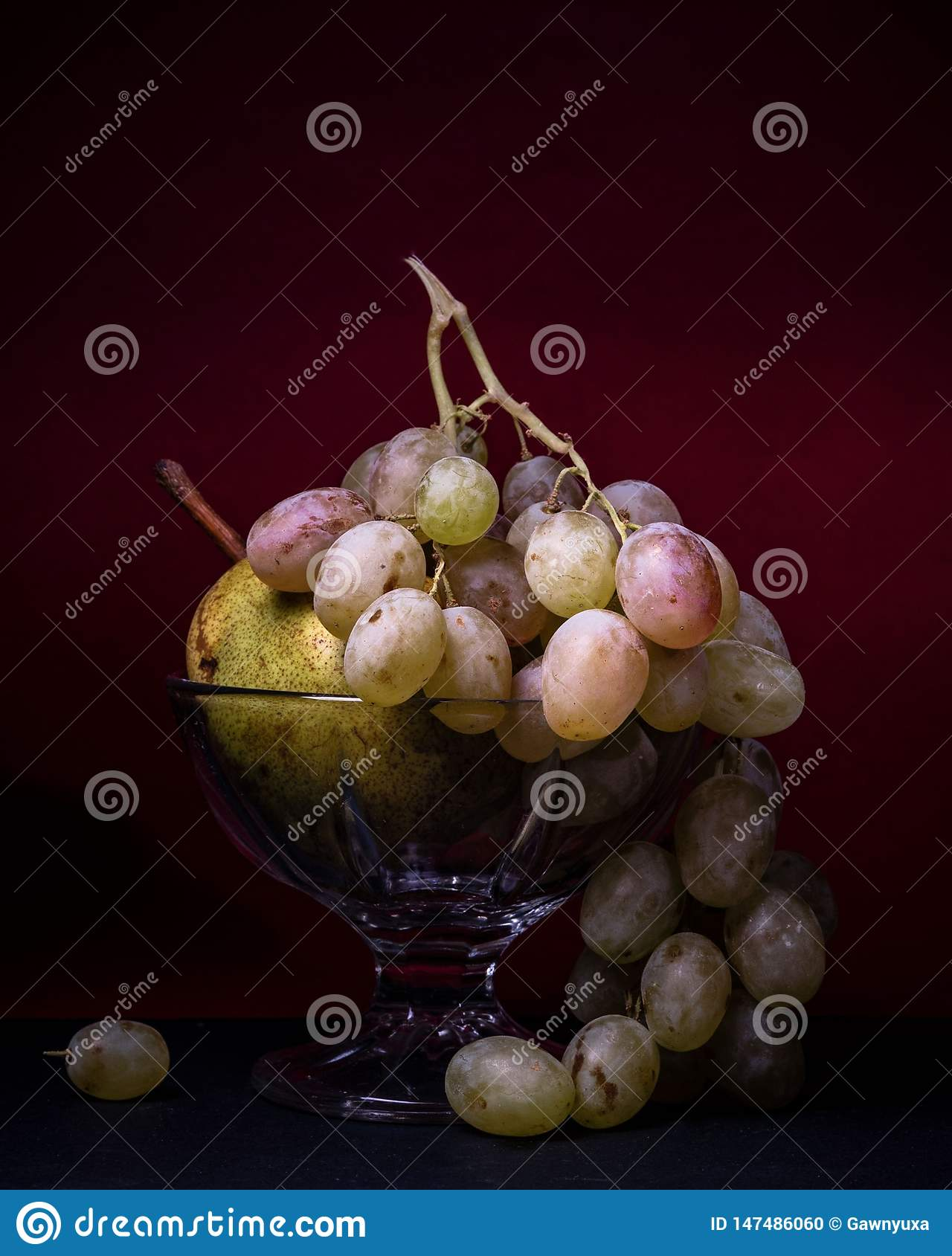 Fruit, still life food grapes pear bowl delicious