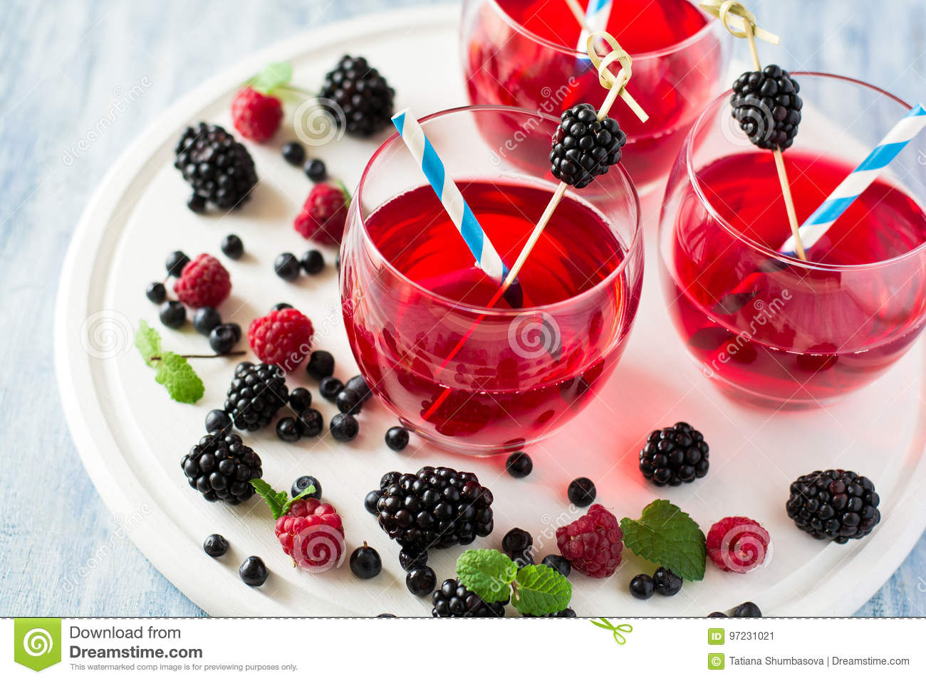 Fruit Tea With Blackberry, Blueberry And Raspberry Decorated Mint