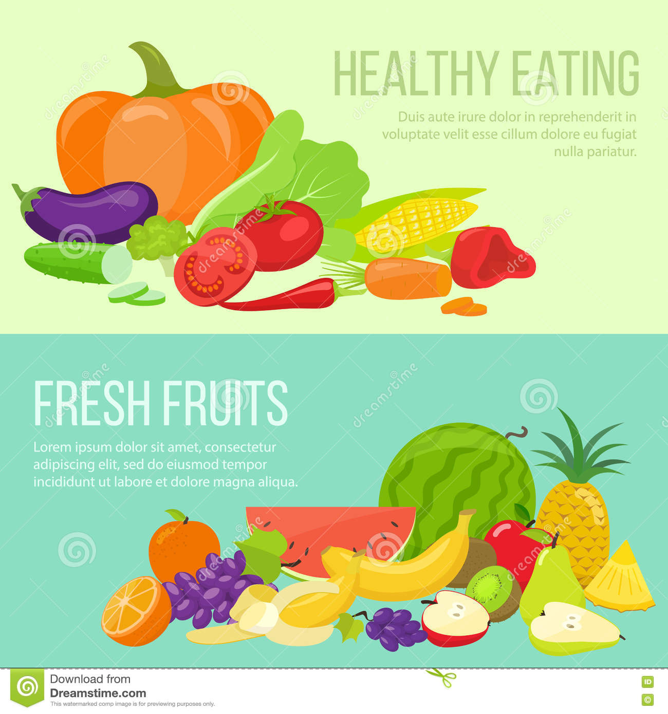 Fruit And Vegetable Banners Stock Vector - Illustration ...
