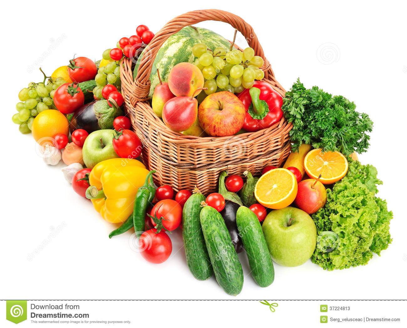 Fruit And Vegetable In Basket Stock Photos - Image: 37224813