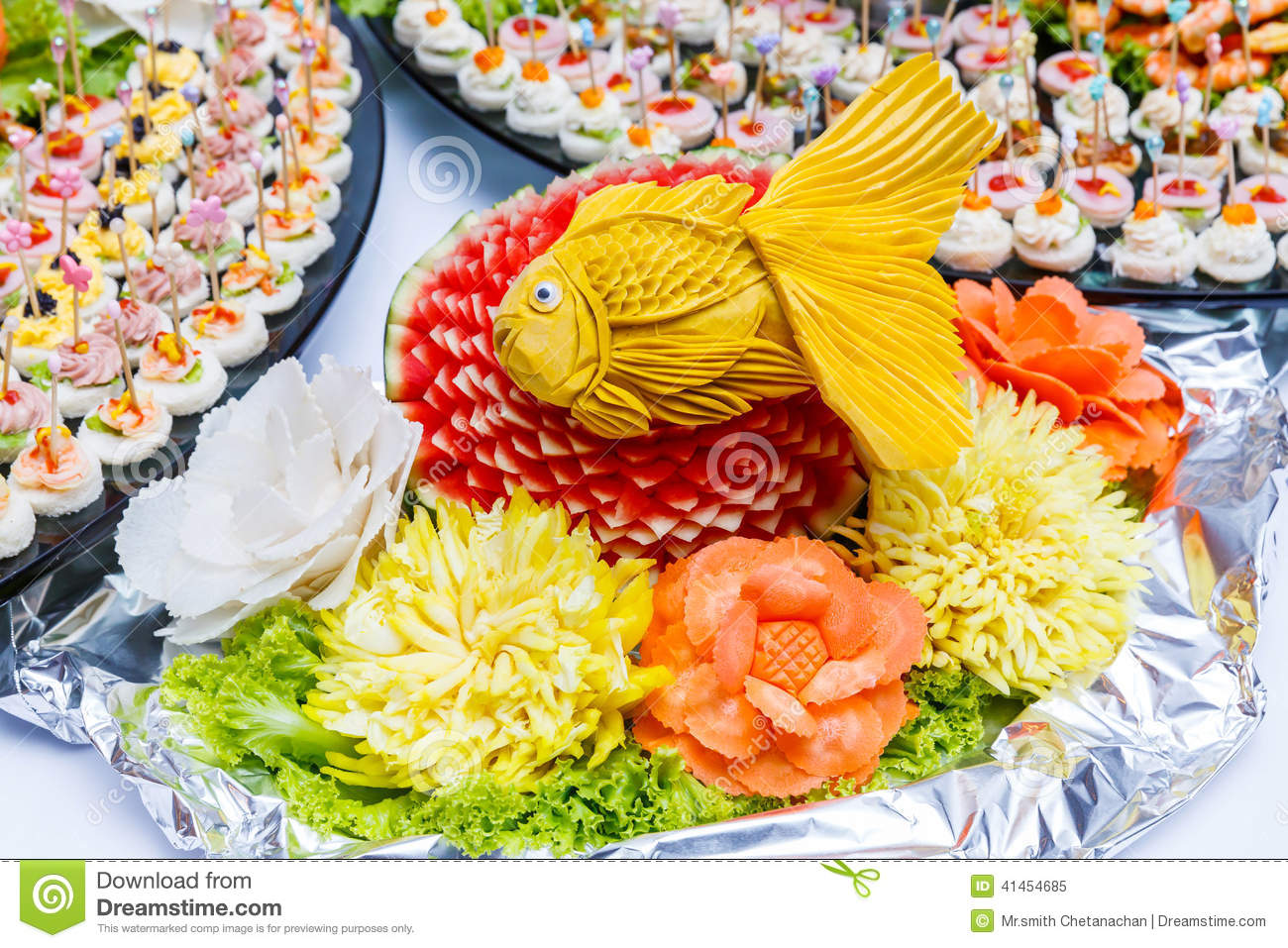 Fruit and vegetable carving stock image