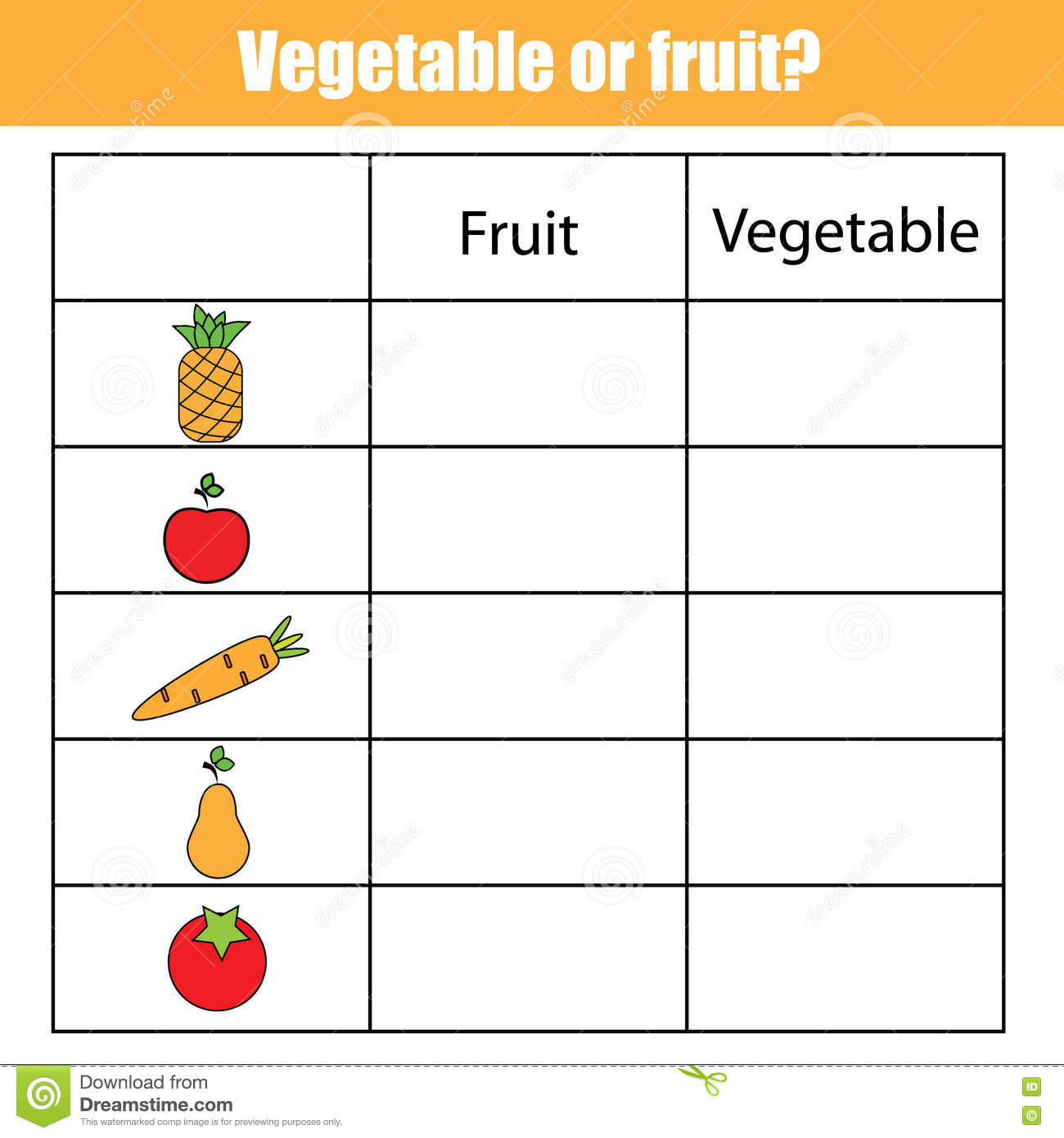 fruit or vegetable educational children game kids activity sheet - Kids Activity Sheet