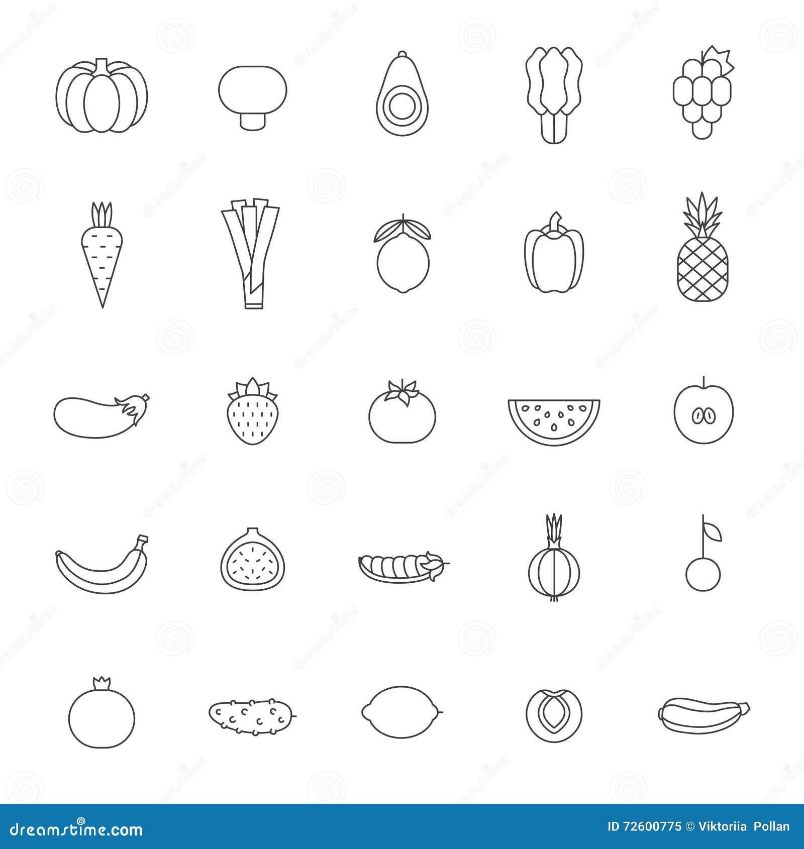fruit and vegetable gray outline vector set modern minimalistic design