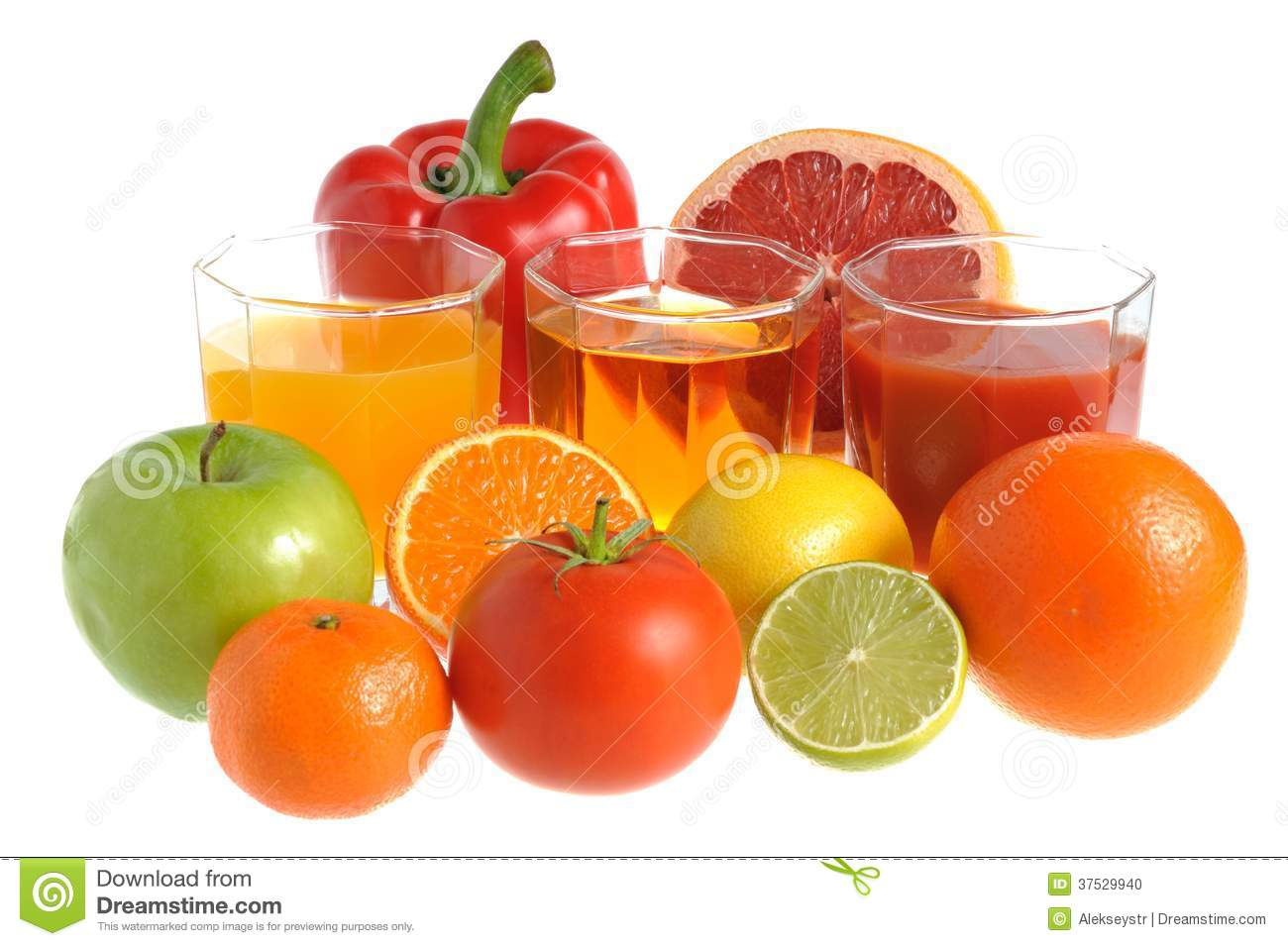 Fruit And Vegetable Mix With Three Glasses Filled With ...