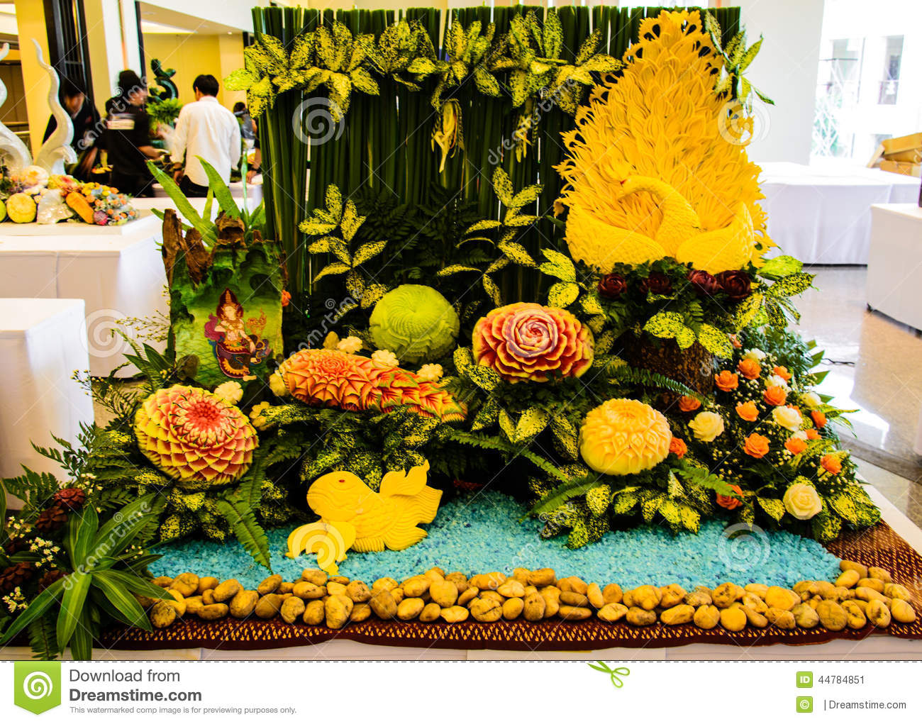 Fruit and vegetable show carving editorial photo image
