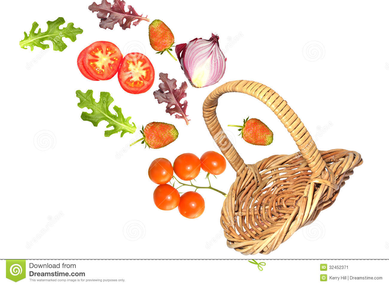 Fruit And Vegetables Falling From Basket Stock Image
