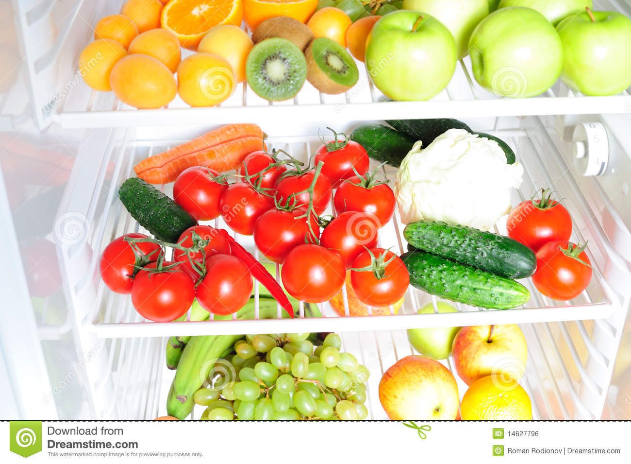 Fruit And Vegetables In The Fridge Royalty Free Stock