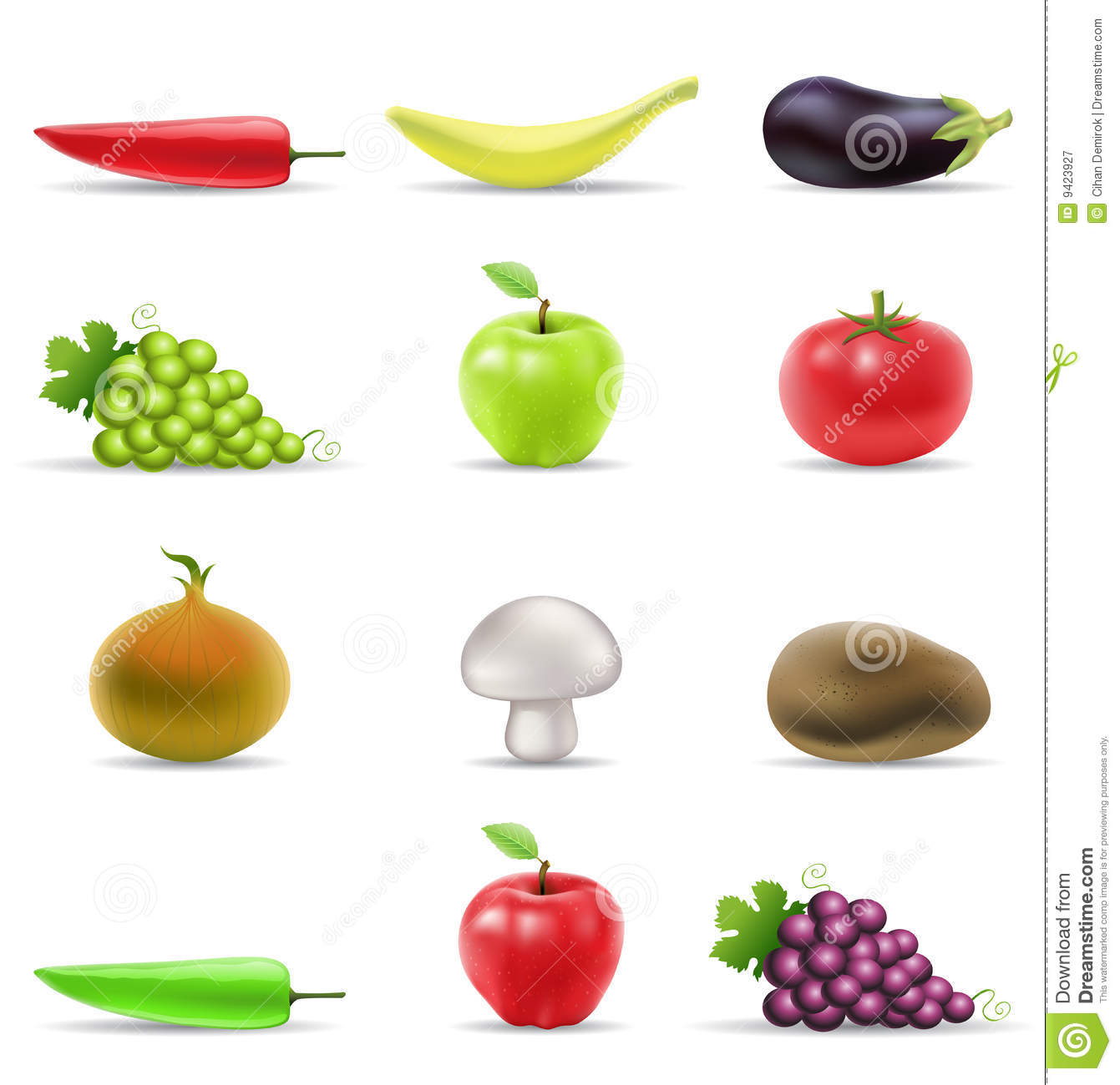 Fruit And Vegetables Icons Royalty Free Stock Photography - Image ...