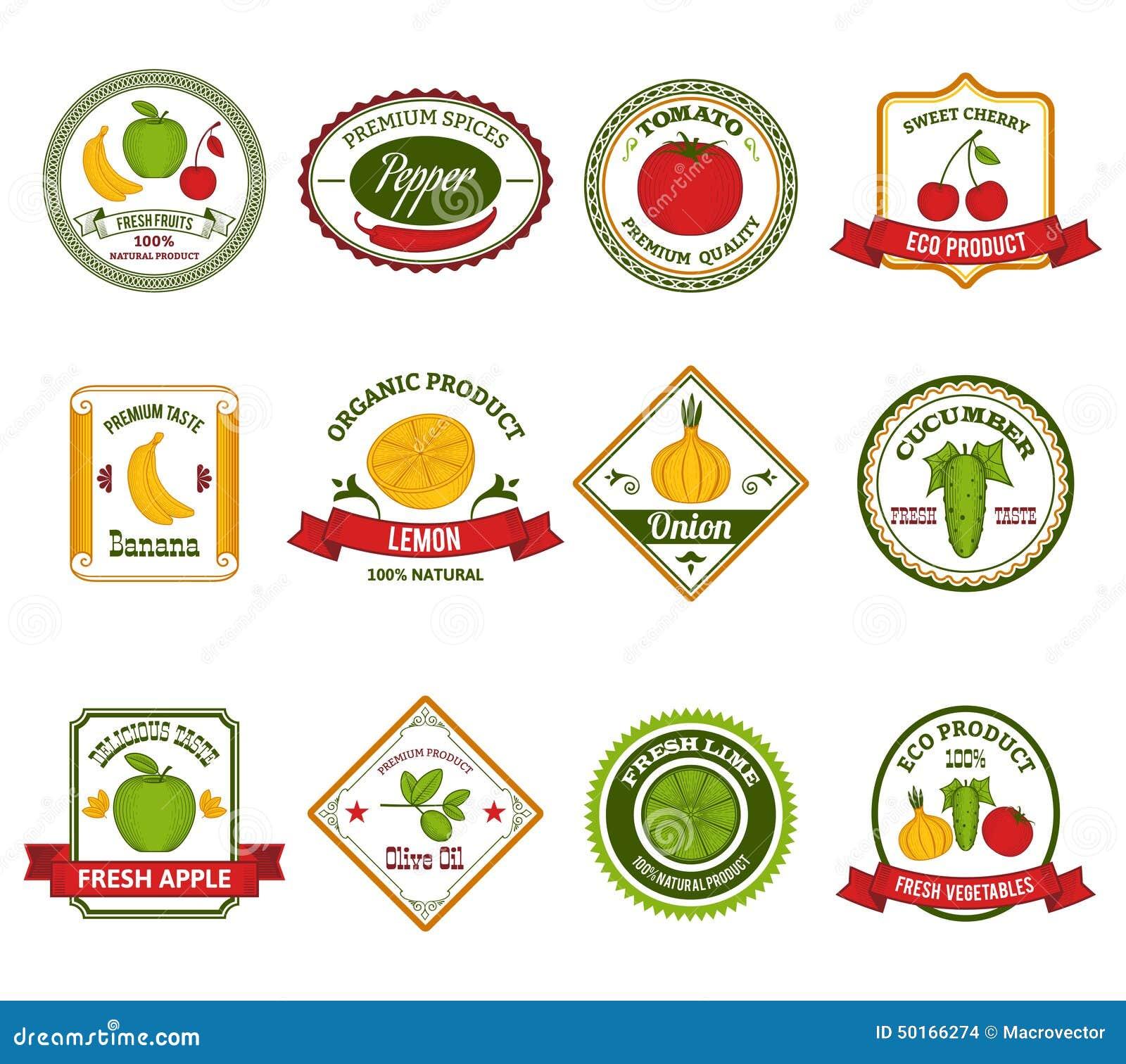Fruit Vegetables Labels Set Color Stock Vector - Image