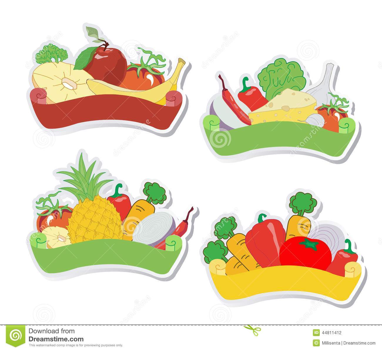 Fruit And Vegetables Labels Stock Vector