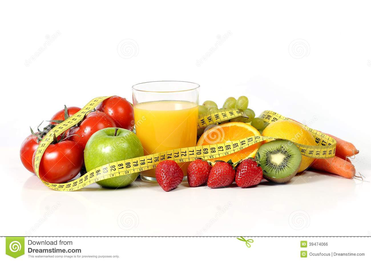 Fruit , Vegetables And Orange Juice In Measure Tape Stock ...