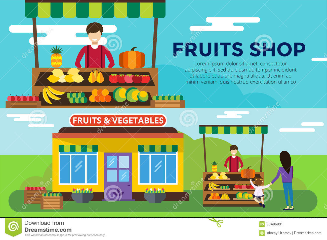 shop counter vector building fruit and vegetables shop stall shop ...