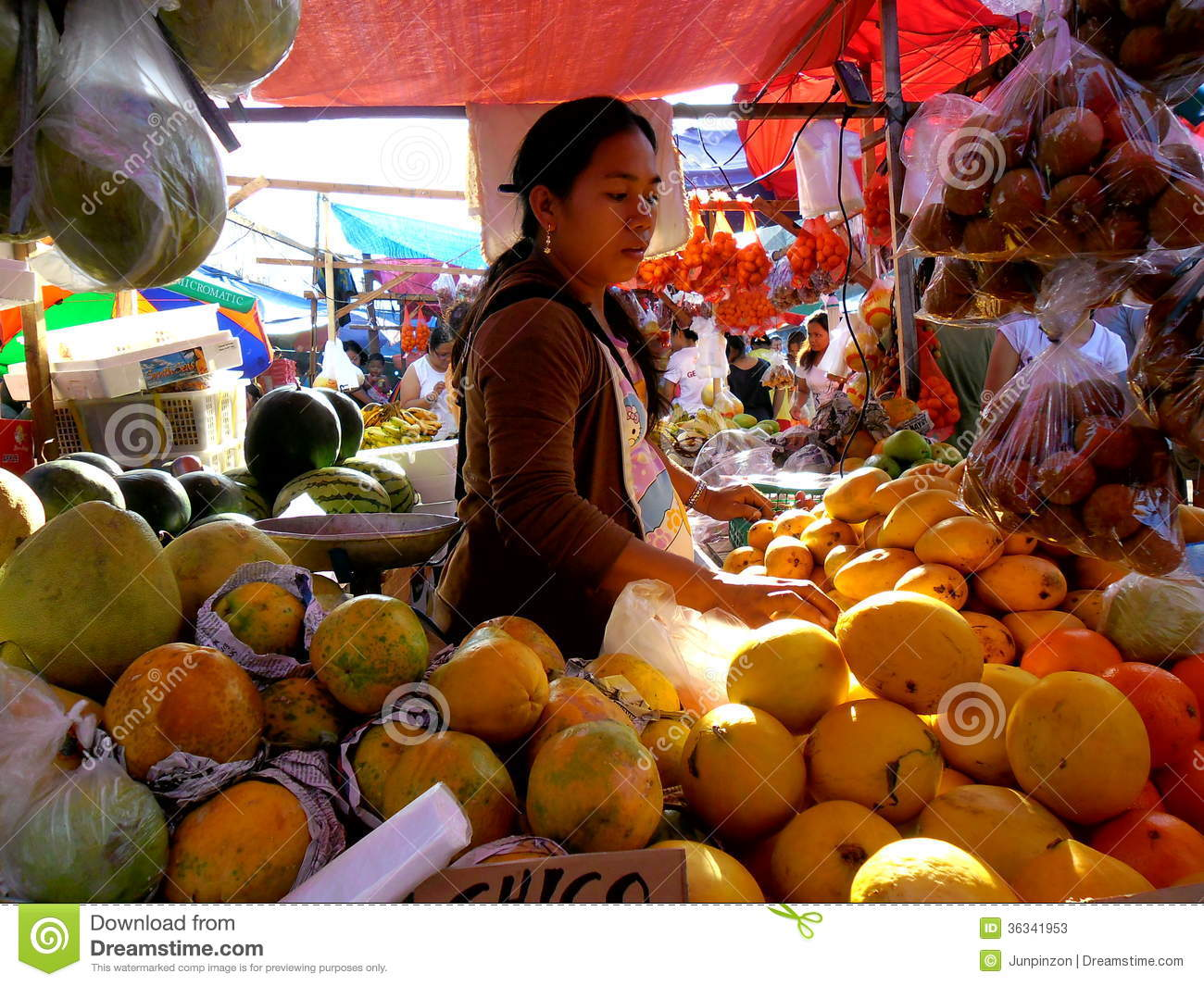 Fruit Vendor in a Market in Cainta, Rizal, Philippines, Asia