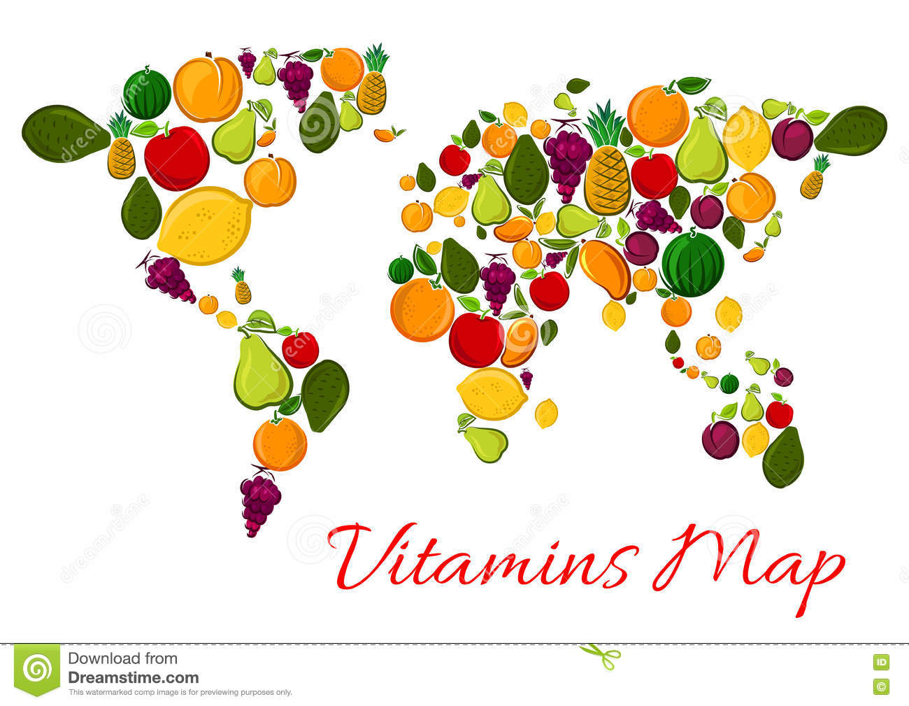 fruit vitamins world map with fruits icons stock vector