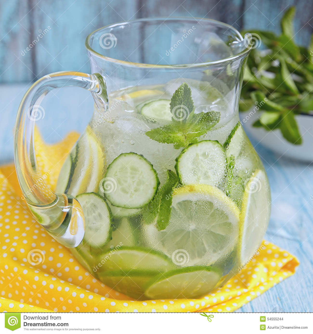 Fruit Water In Glass Pitcher Stock Photo Image Of