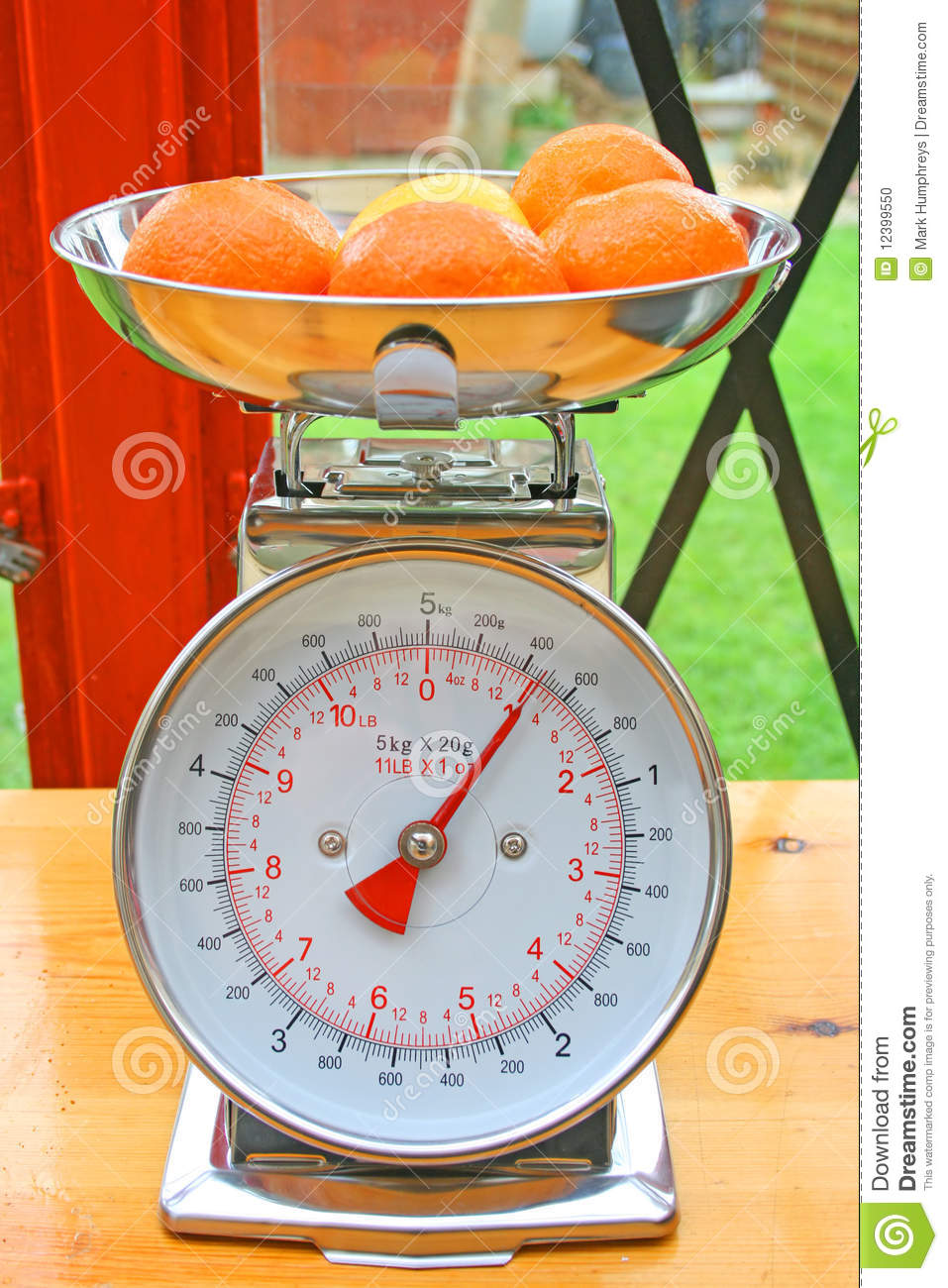 Fruit On Weighing Scales Stock Photo Image 12399550